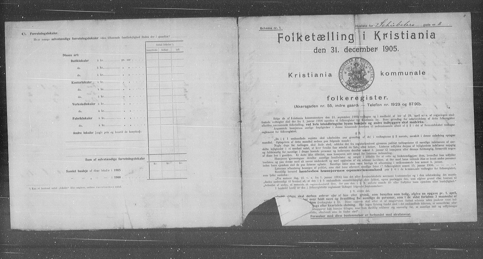 OBA, Municipal Census 1905 for Kristiania, 1905, p. 48286