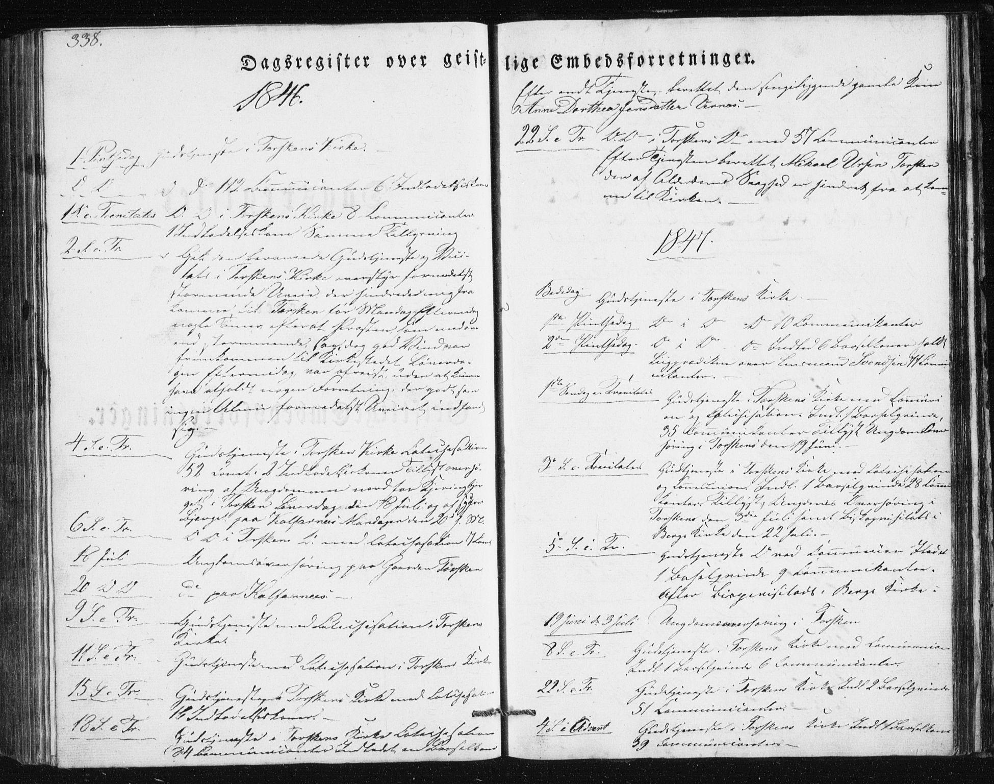 SATØ, Mefjord/Berg sokneprestkontor, G/Ga/Gab/L0011klokker: Parish register (copy) no. 11, 1833-1878, p. 338