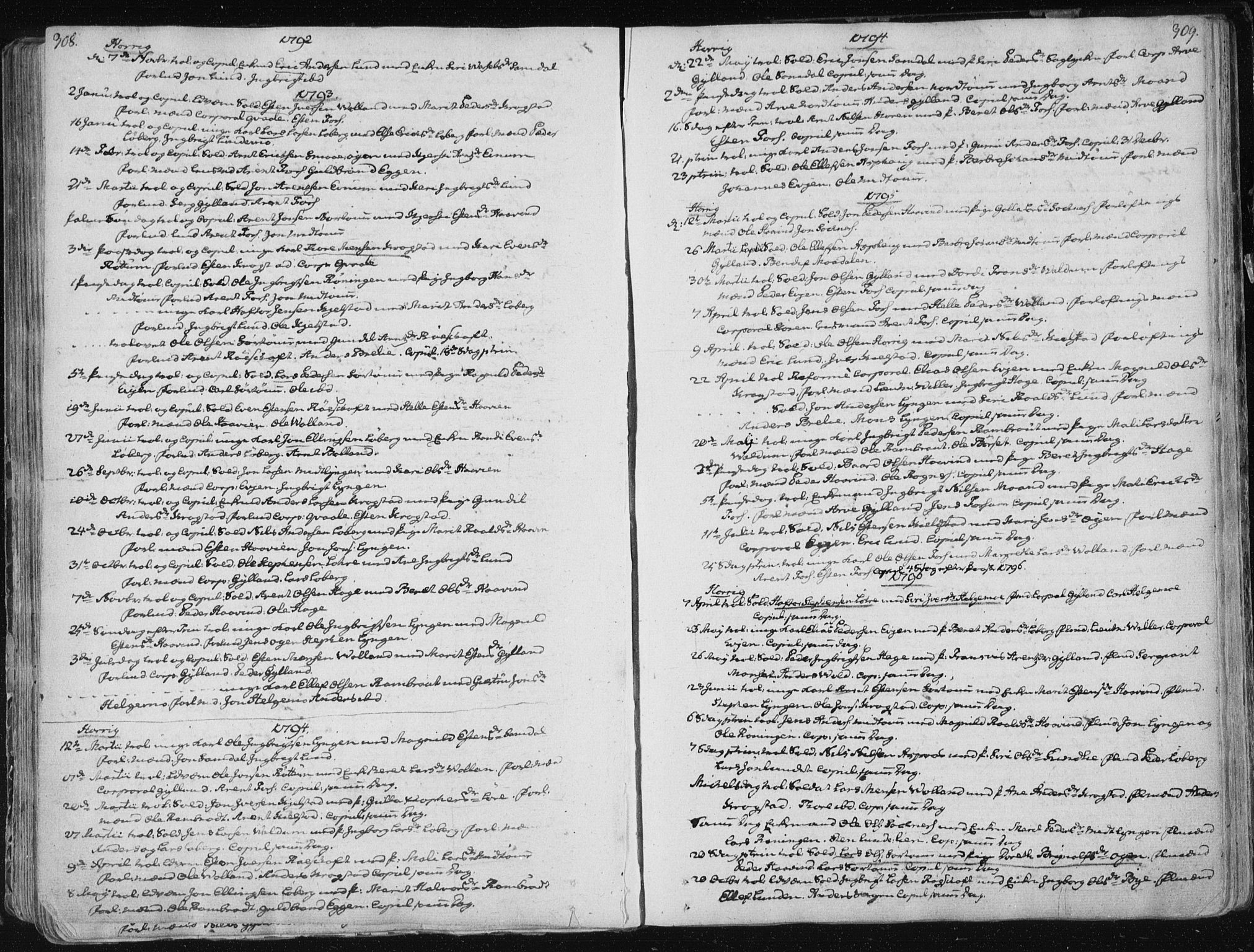 SAT, Ministerialprotokoller, klokkerbøker og fødselsregistre - Sør-Trøndelag, 687/L0992: Parish register (official) no. 687A03 /1, 1788-1815, p. 308-309