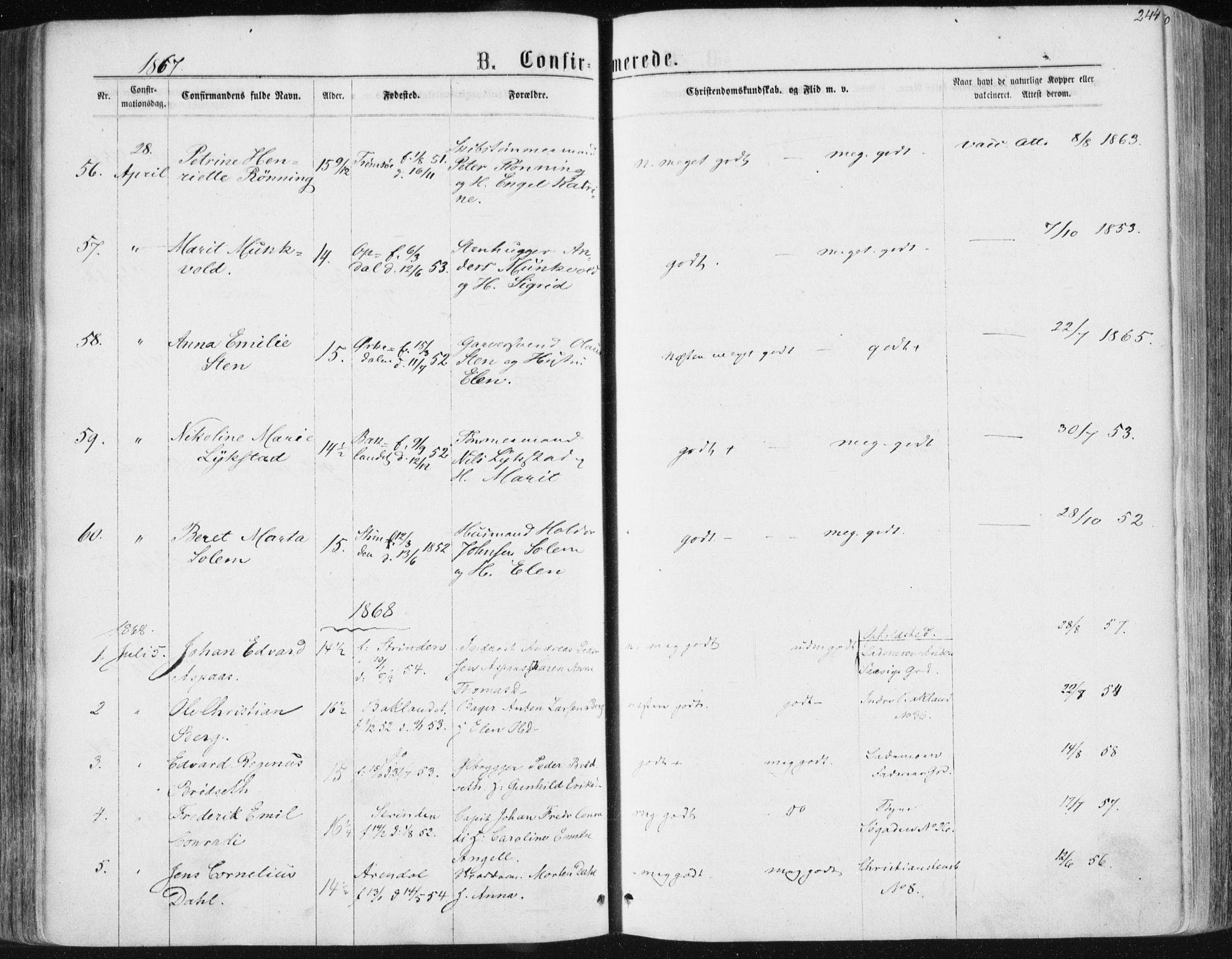 SAT, Ministerialprotokoller, klokkerbøker og fødselsregistre - Sør-Trøndelag, 604/L0186: Parish register (official) no. 604A07, 1866-1877, p. 244