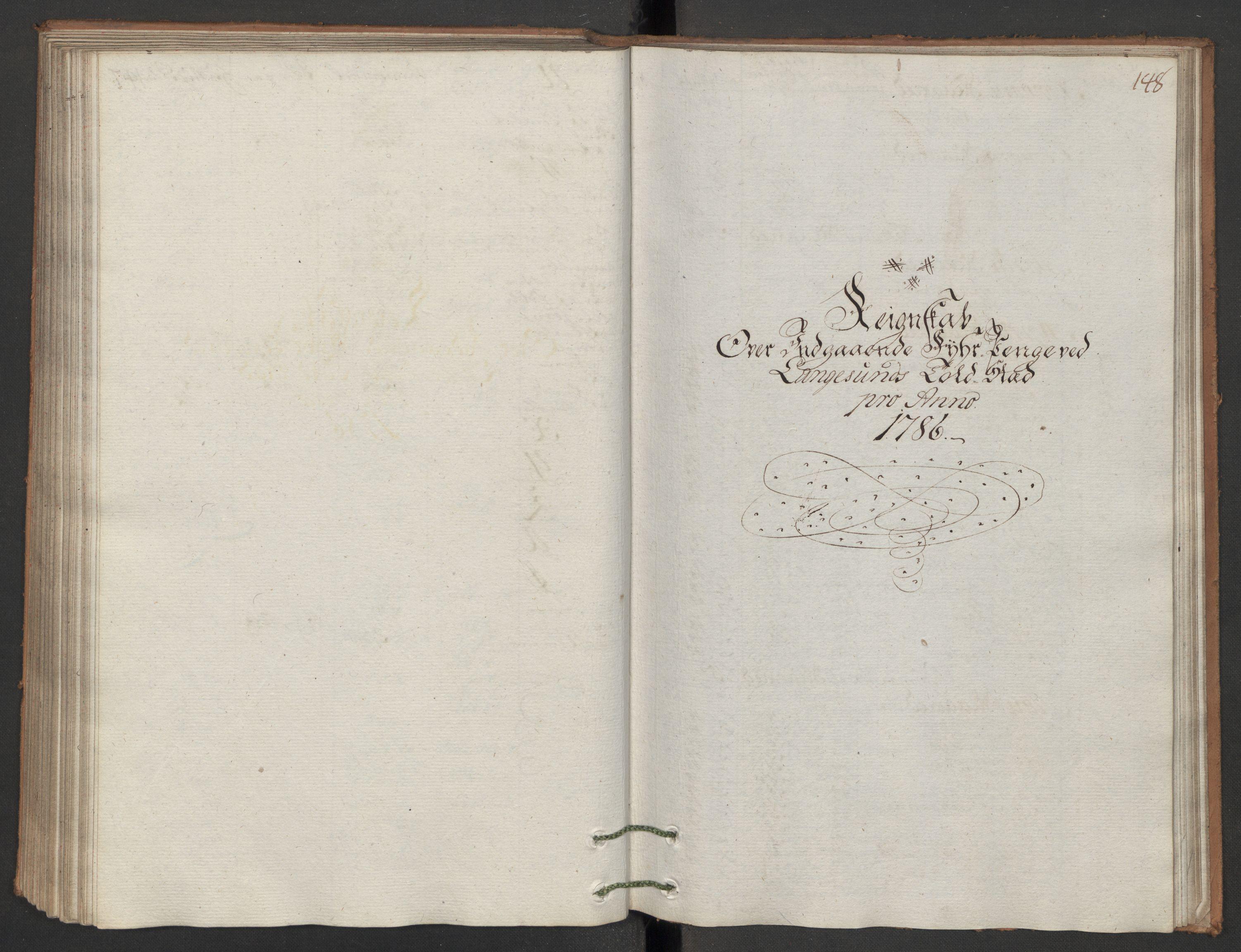 RA, Generaltollkammeret, tollregnskaper, R12/L0118: Tollregnskaper Langesund, 1786, p. 147b-148a