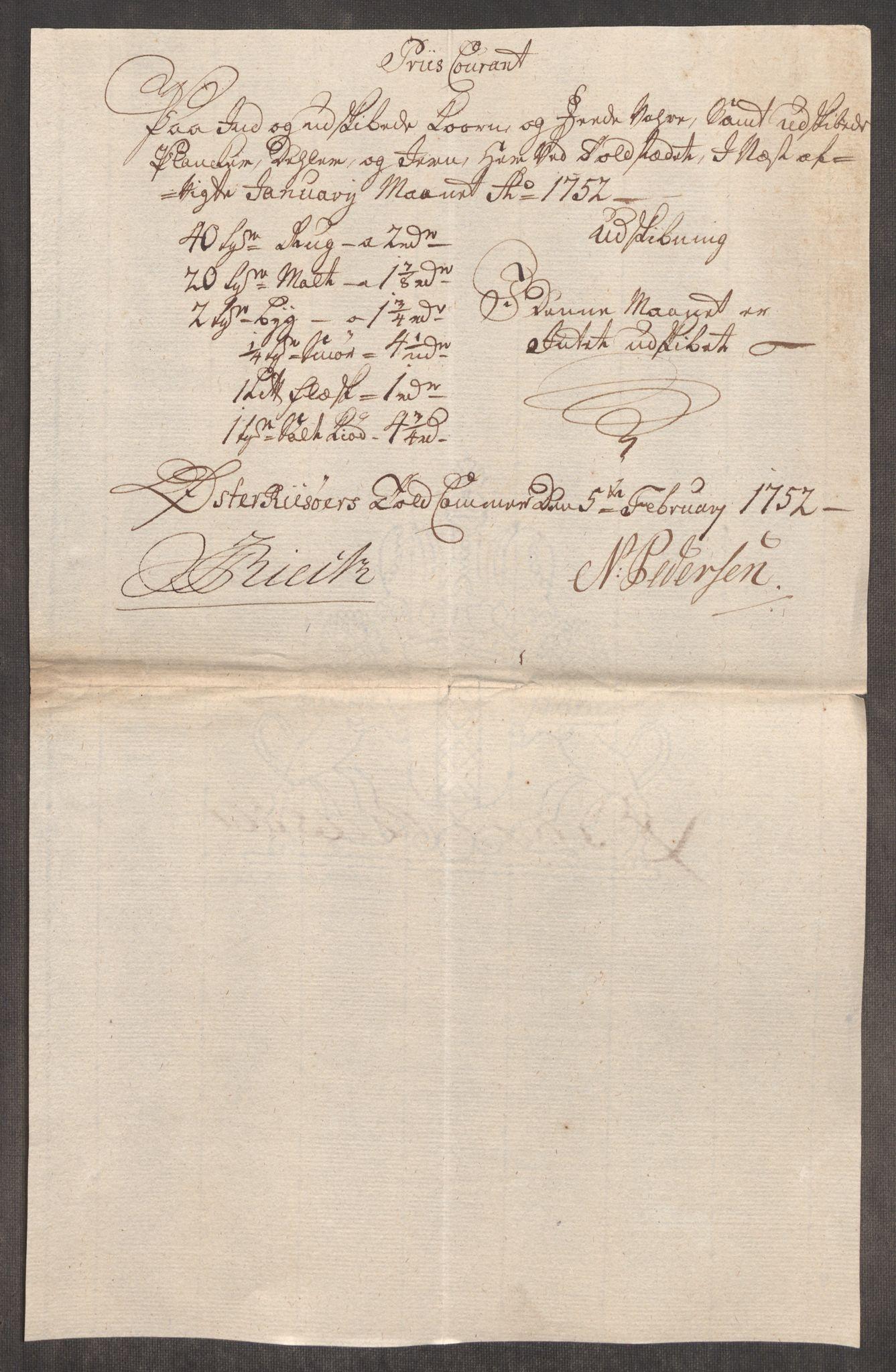 RA, Rentekammeret inntil 1814, Realistisk ordnet avdeling, Oe/L0004: [Ø1]: Priskuranter, 1749-1752, p. 950