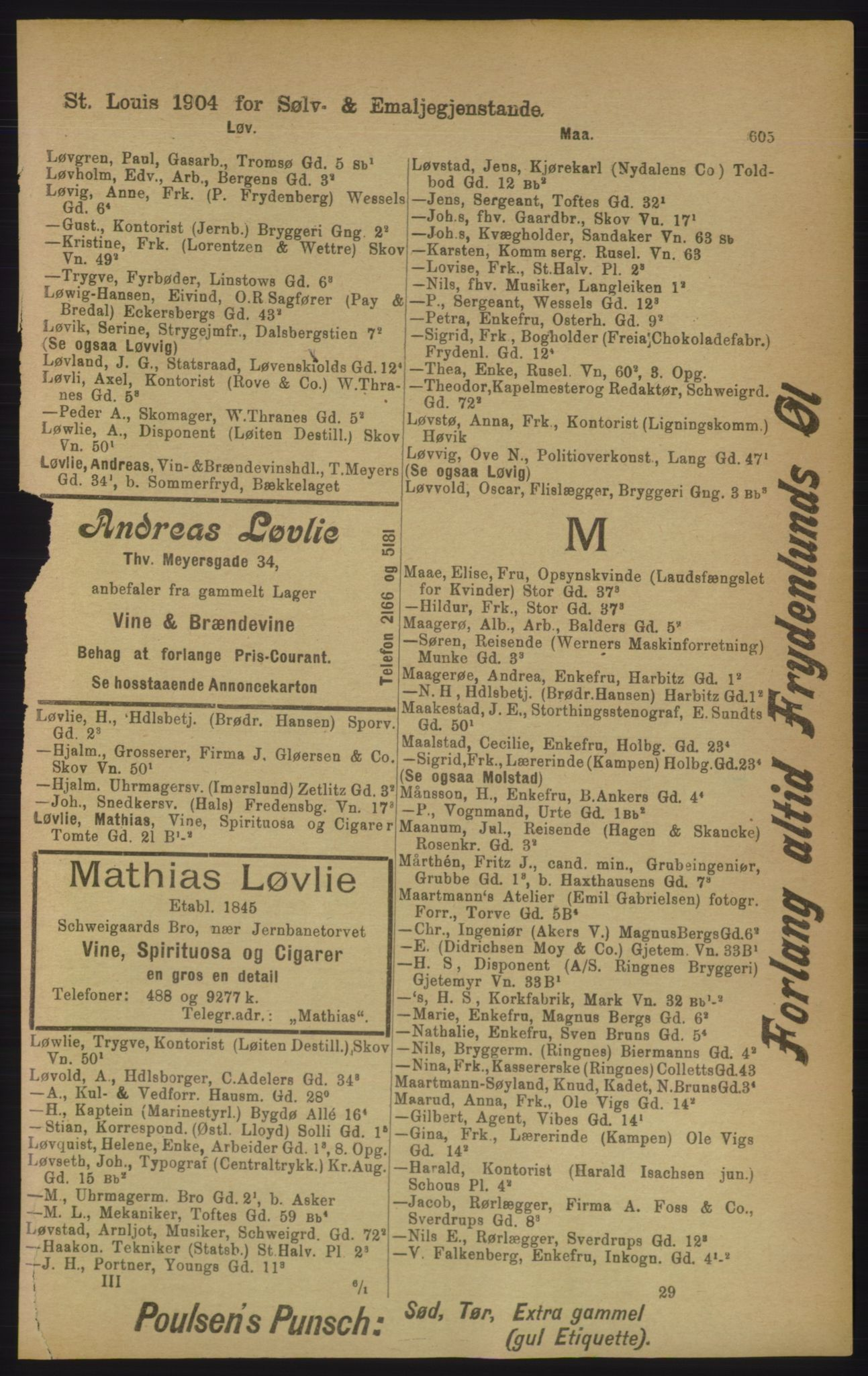 PUBL, Kristiania/Oslo adressebok, 1906, p. 605