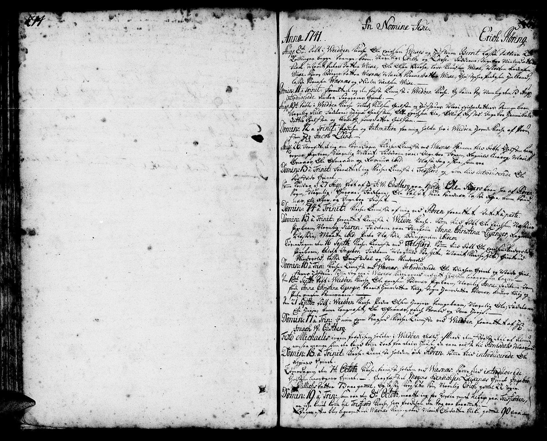 SAT, Ministerialprotokoller, klokkerbøker og fødselsregistre - Møre og Romsdal, 547/L0599: Parish register (official) no. 547A01, 1721-1764, p. 214-215