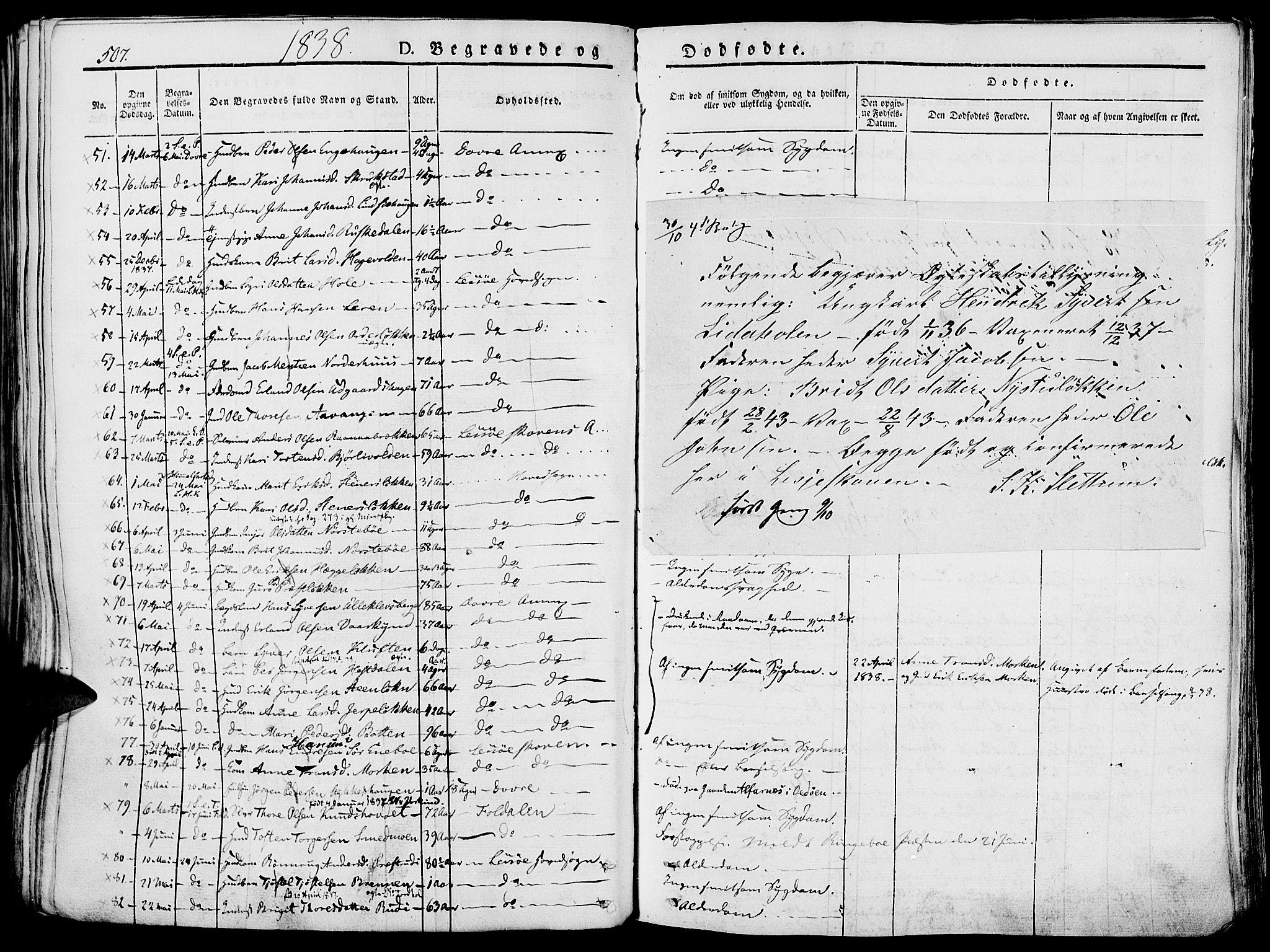 SAH, Lesja prestekontor, Parish register (official) no. 5, 1830-1842, p. 507