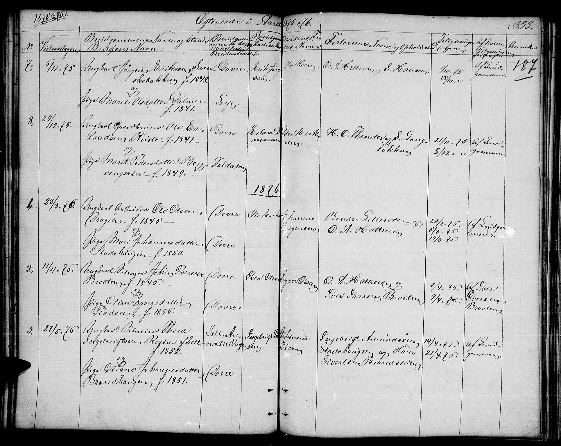 SAH, Dovre prestekontor, Parish register (copy) no. 1, 1862-1880, p. 333