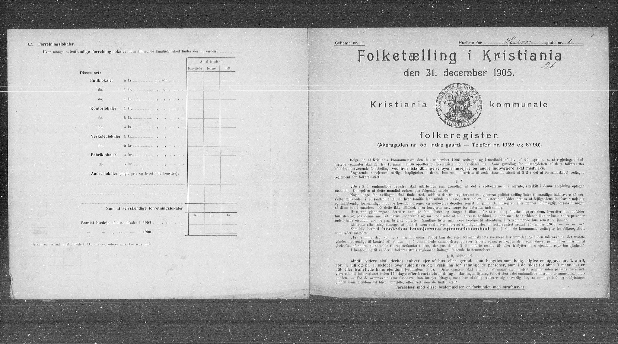 OBA, Municipal Census 1905 for Kristiania, 1905, p. 30206