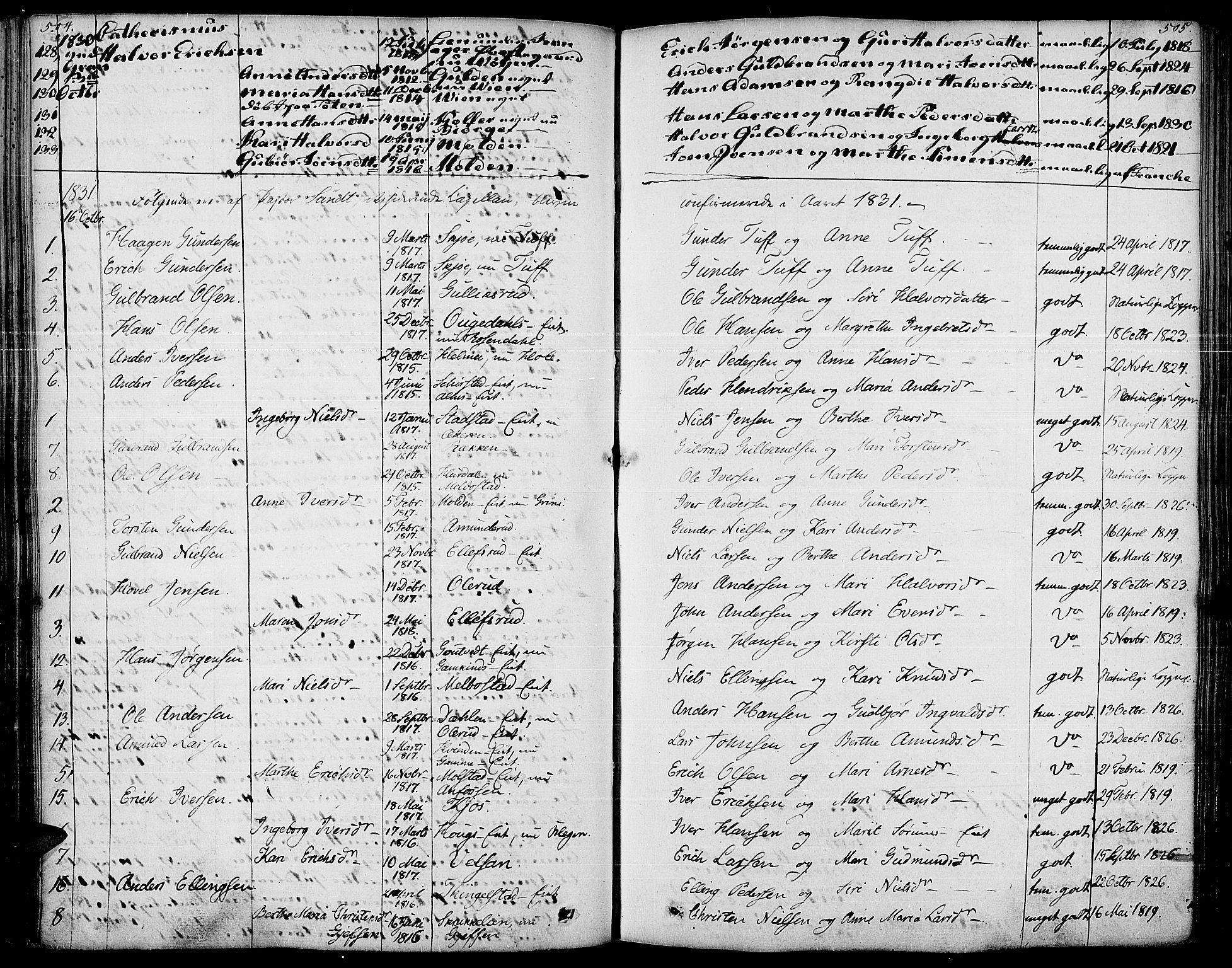 SAH, Gran prestekontor, Parish register (official) no. 10, 1824-1842, p. 504-505