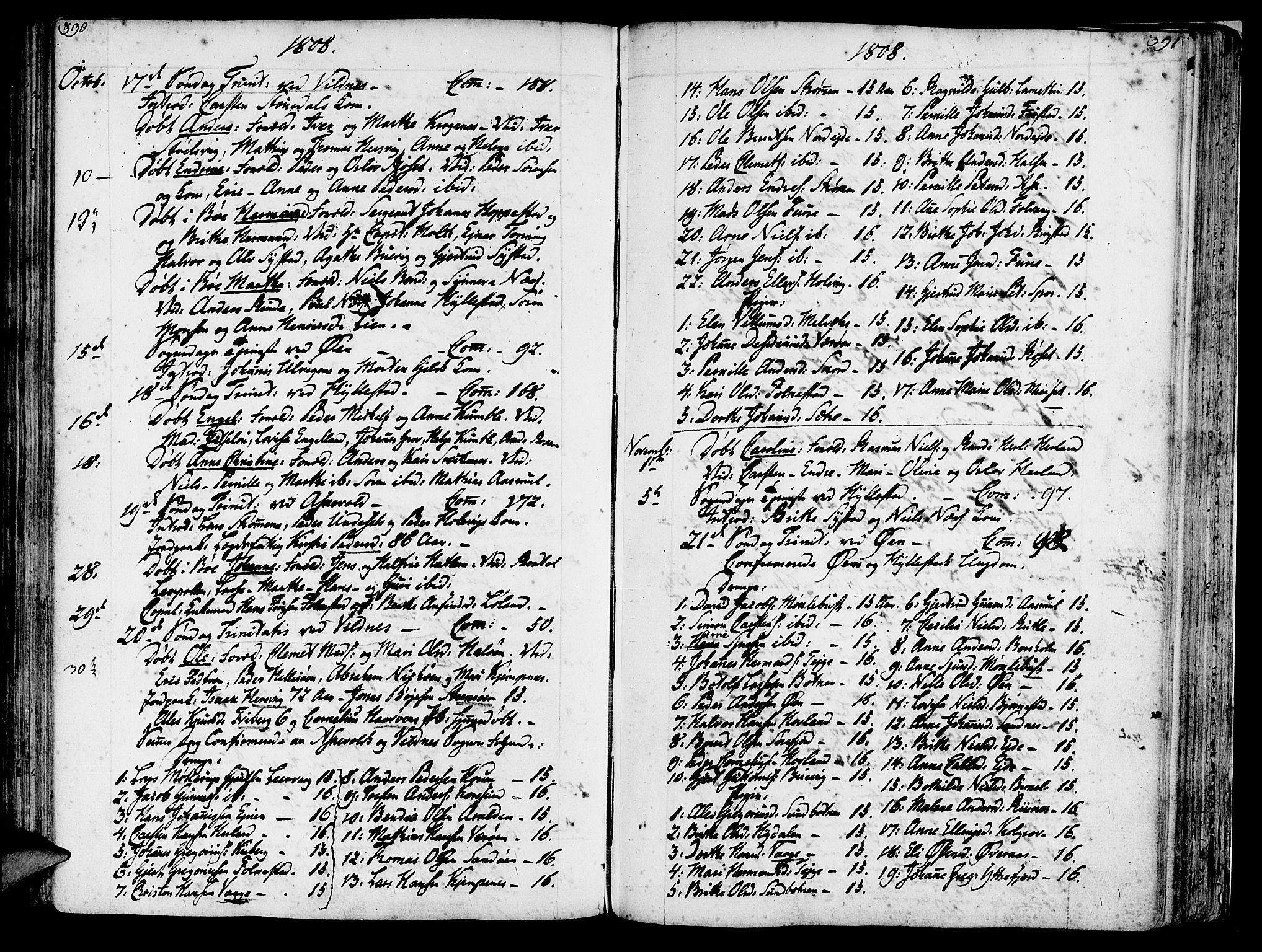 SAB, Askvoll sokneprestembete, H/Haa/Haaa/L0009: Parish register (official) no. A 9, 1776-1821, p. 390-391