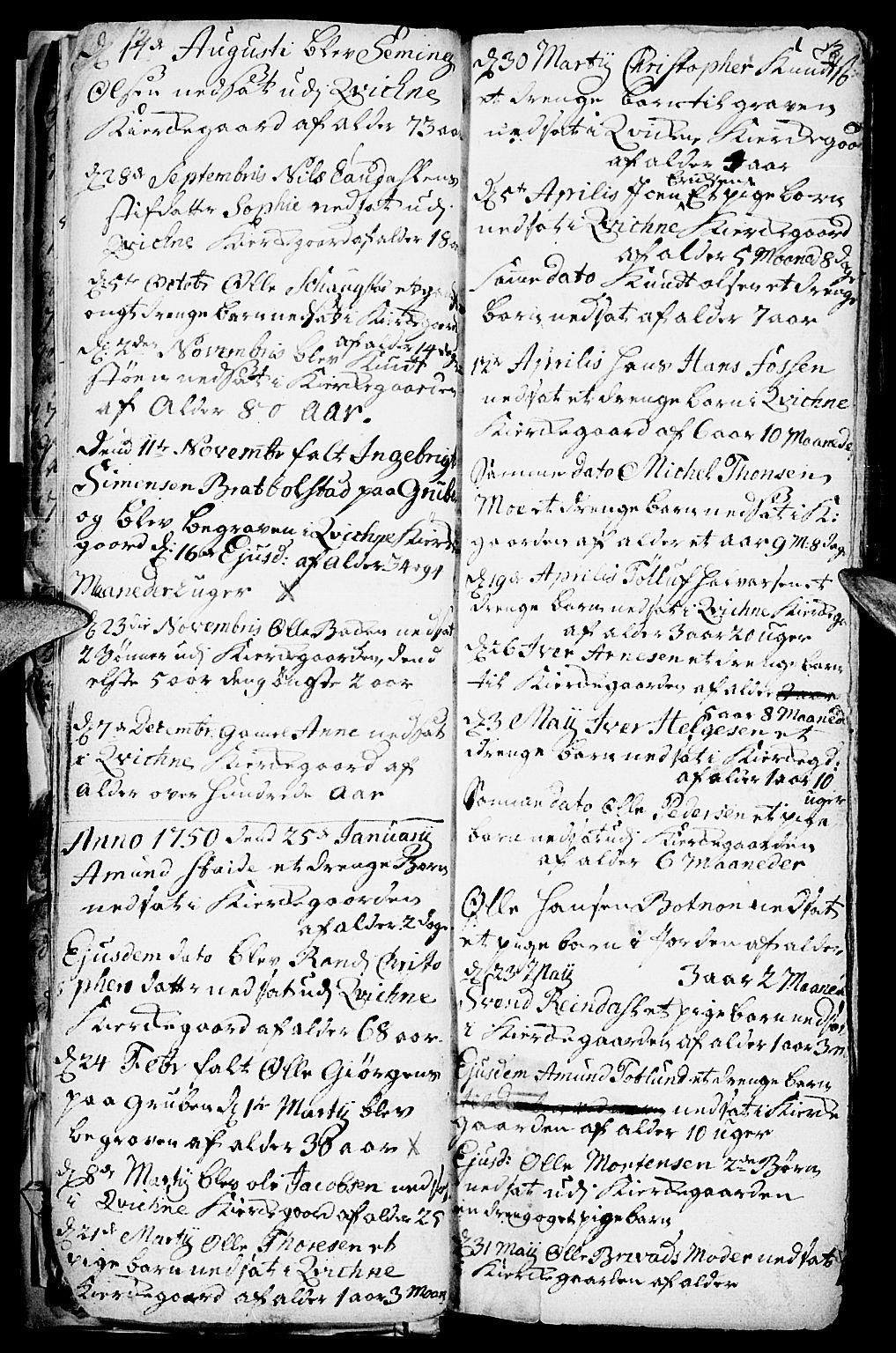 SAH, Kvikne prestekontor, Parish register (official) no. 1, 1740-1756, p. 12-13