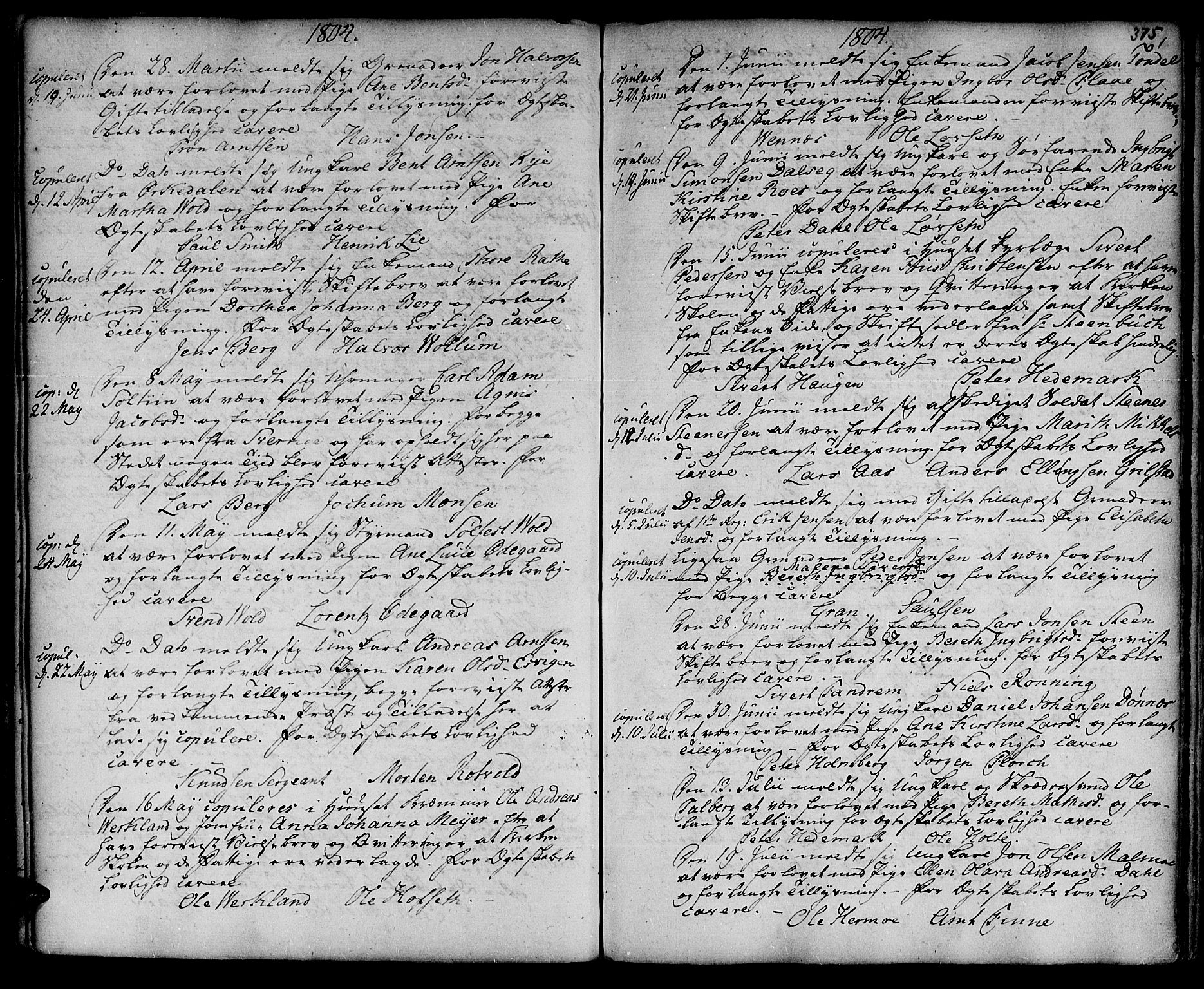 SAT, Ministerialprotokoller, klokkerbøker og fødselsregistre - Sør-Trøndelag, 601/L0038: Parish register (official) no. 601A06, 1766-1877, p. 375