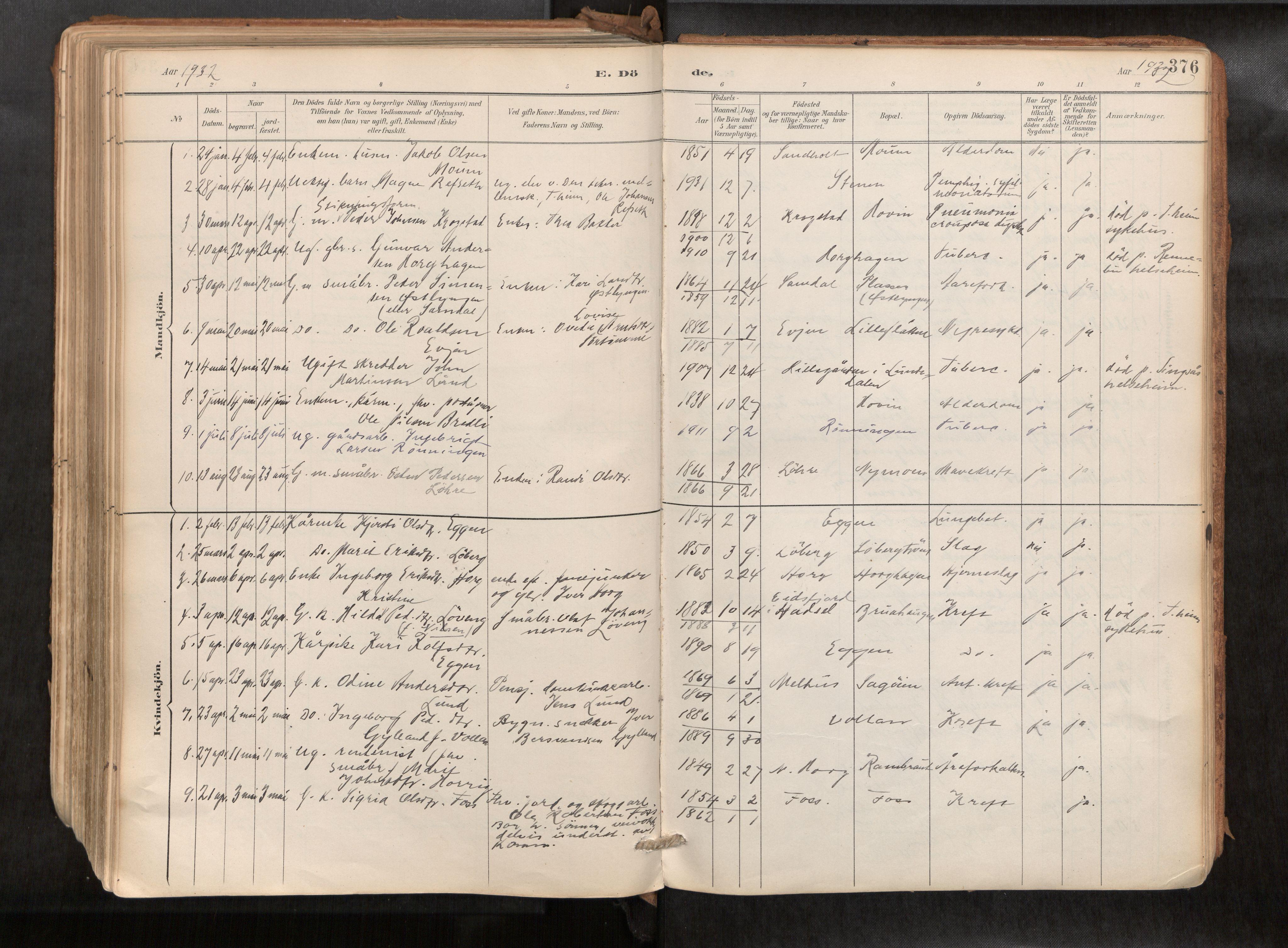 SAT, Ministerialprotokoller, klokkerbøker og fødselsregistre - Sør-Trøndelag, 692/L1105b: Parish register (official) no. 692A06, 1891-1934, p. 376