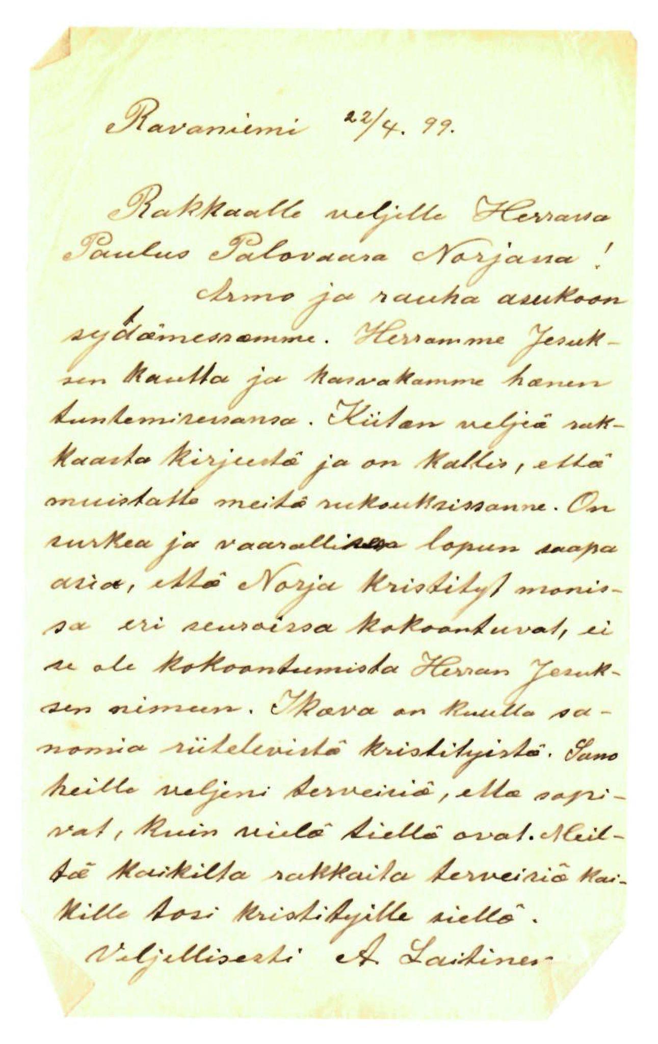 FMFB, Elise Balos brevsamling, F/Fa/L0011: Brev fra A. Laitinen til Paulus Palovara , 1899