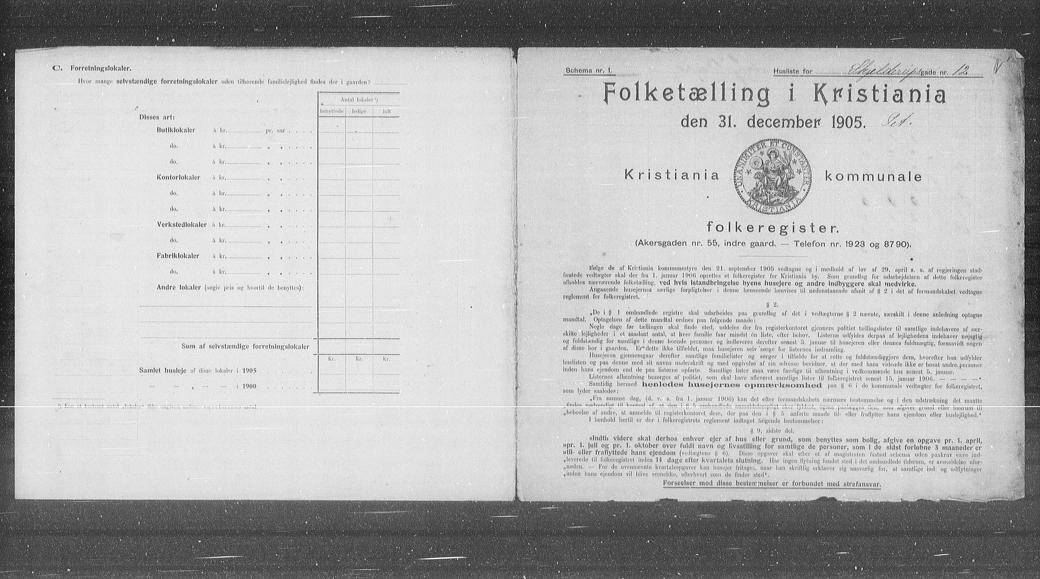 OBA, Municipal Census 1905 for Kristiania, 1905, p. 49713
