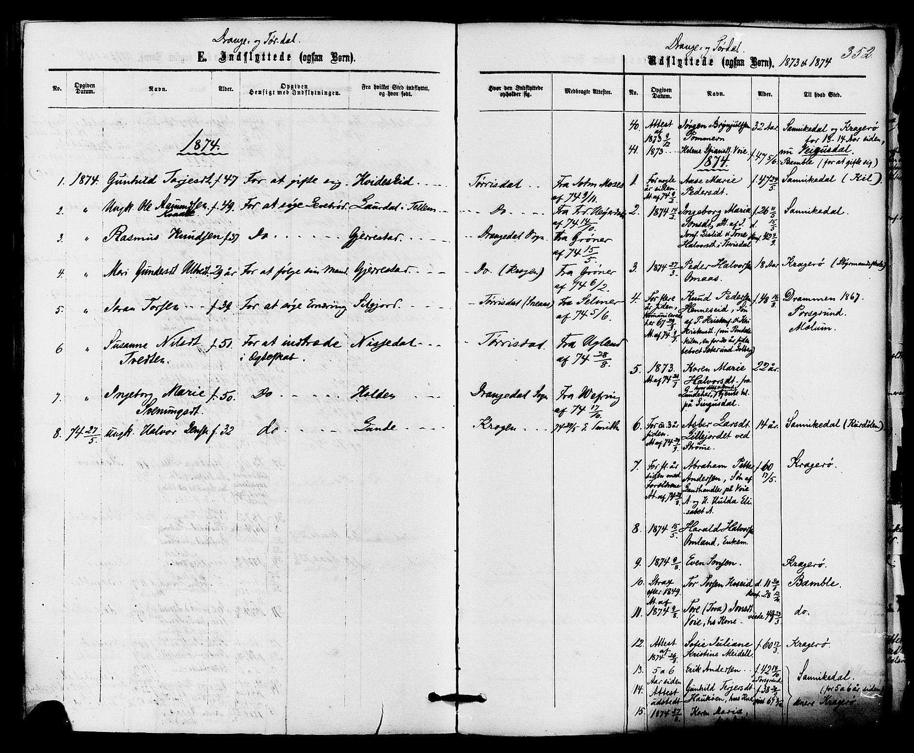 SAKO, Drangedal kirkebøker, F/Fa/L0009: Parish register (official) no. 9 /1, 1872-1884, p. 352