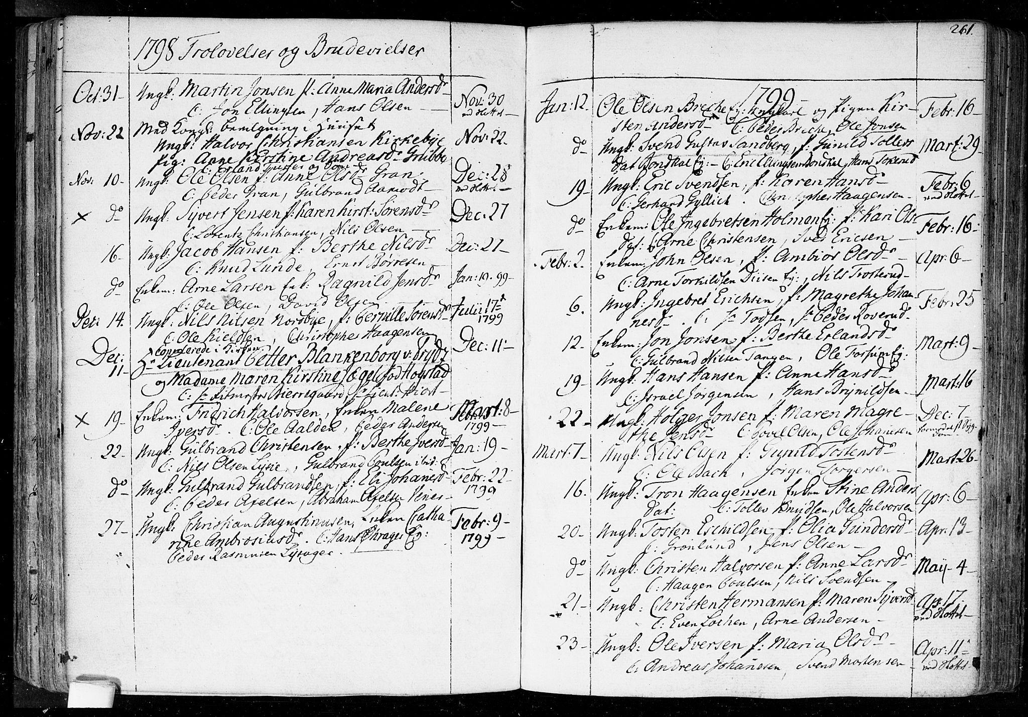 SAO, Aker prestekontor kirkebøker, F/L0010: Parish register (official) no. 10, 1786-1809, p. 261
