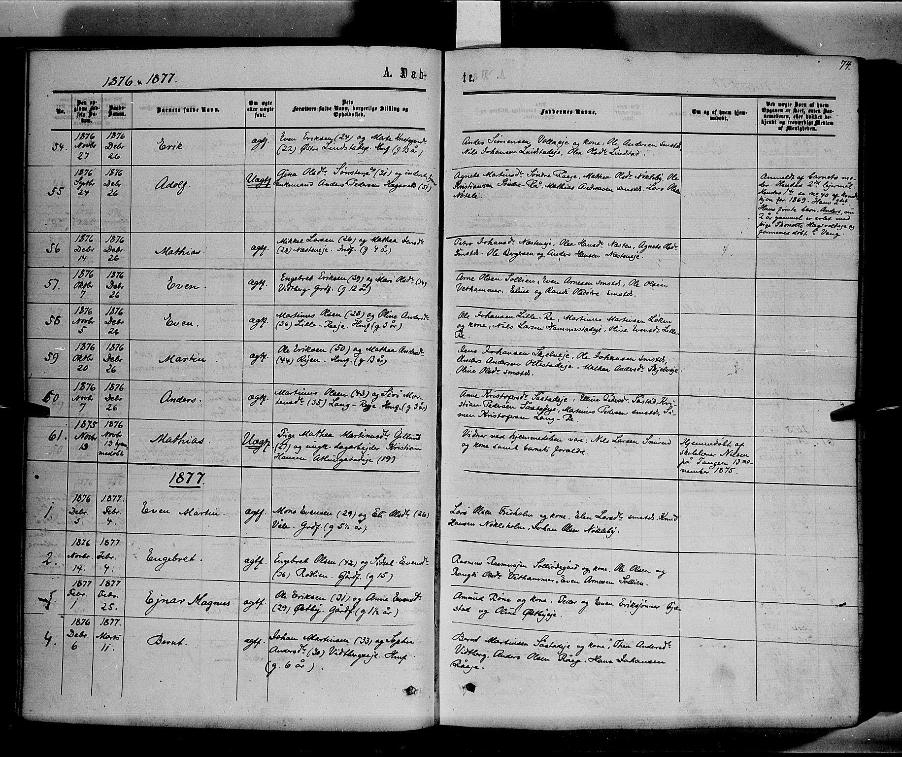 SAH, Stange prestekontor, K/L0013: Parish register (official) no. 13, 1862-1879, p. 74