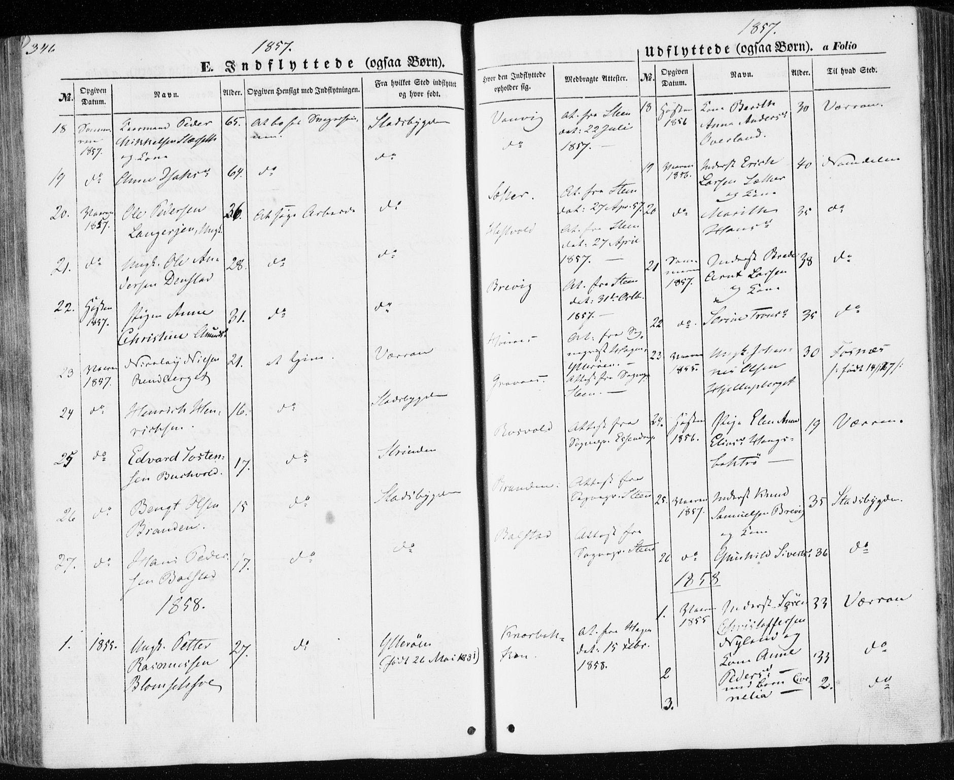 SAT, Ministerialprotokoller, klokkerbøker og fødselsregistre - Nord-Trøndelag, 701/L0008: Parish register (official) no. 701A08 /1, 1854-1863, p. 346