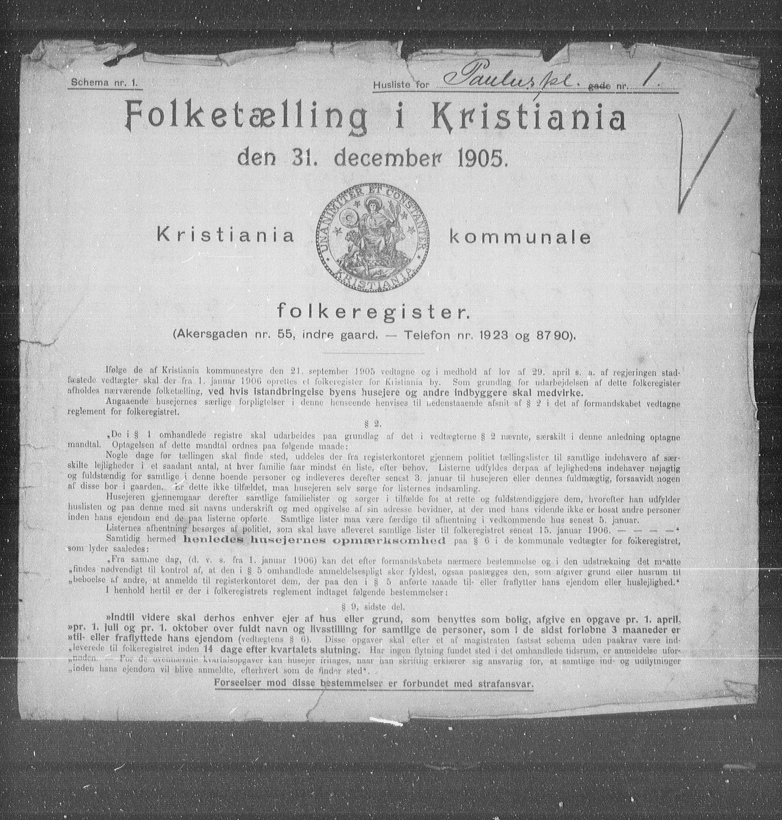 OBA, Municipal Census 1905 for Kristiania, 1905, p. 41309