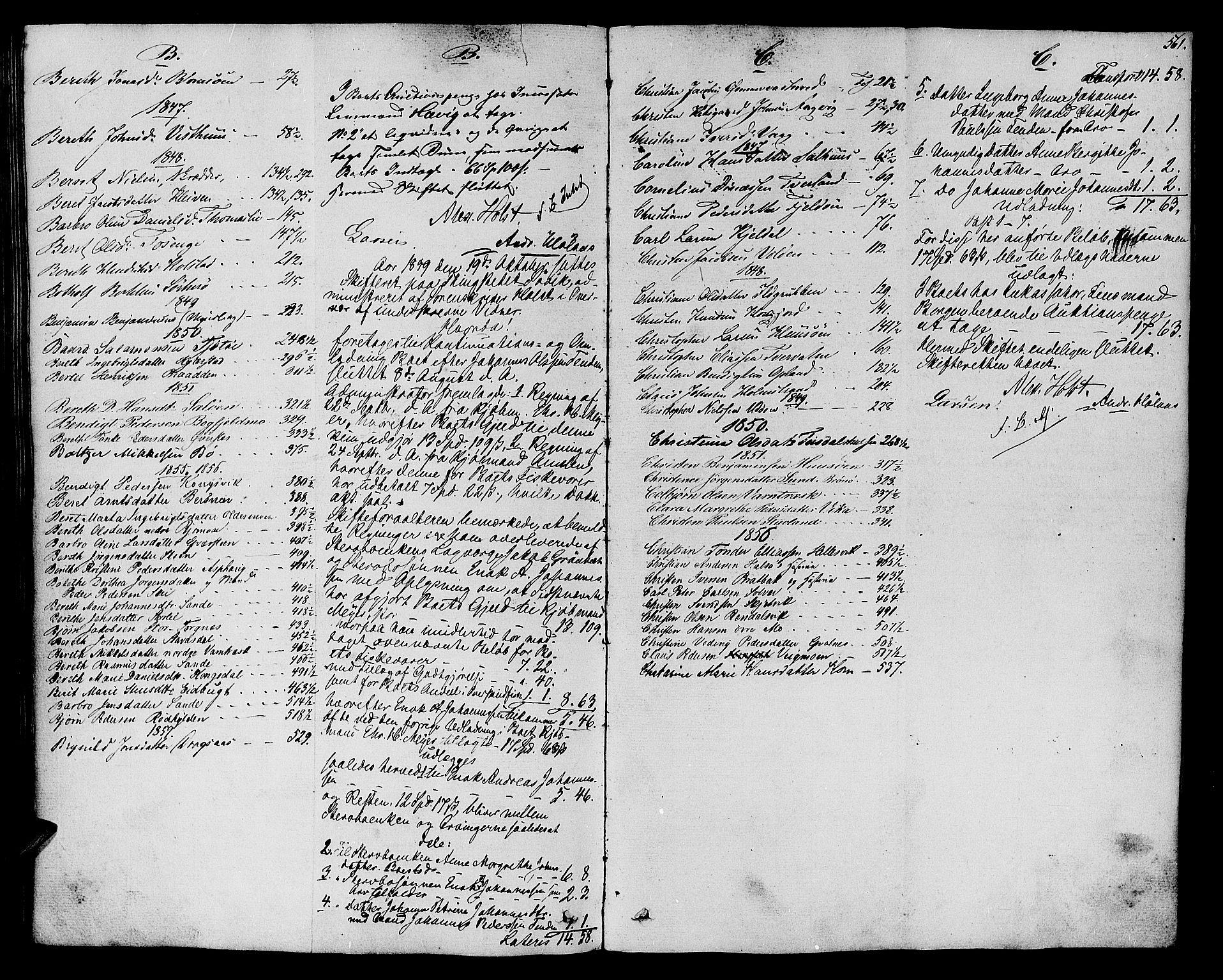 SAT, Helgeland sorenskriveri, 3/3A/L0104: Skifteprotokoll 49, 1845-1859, p. 560b-561a