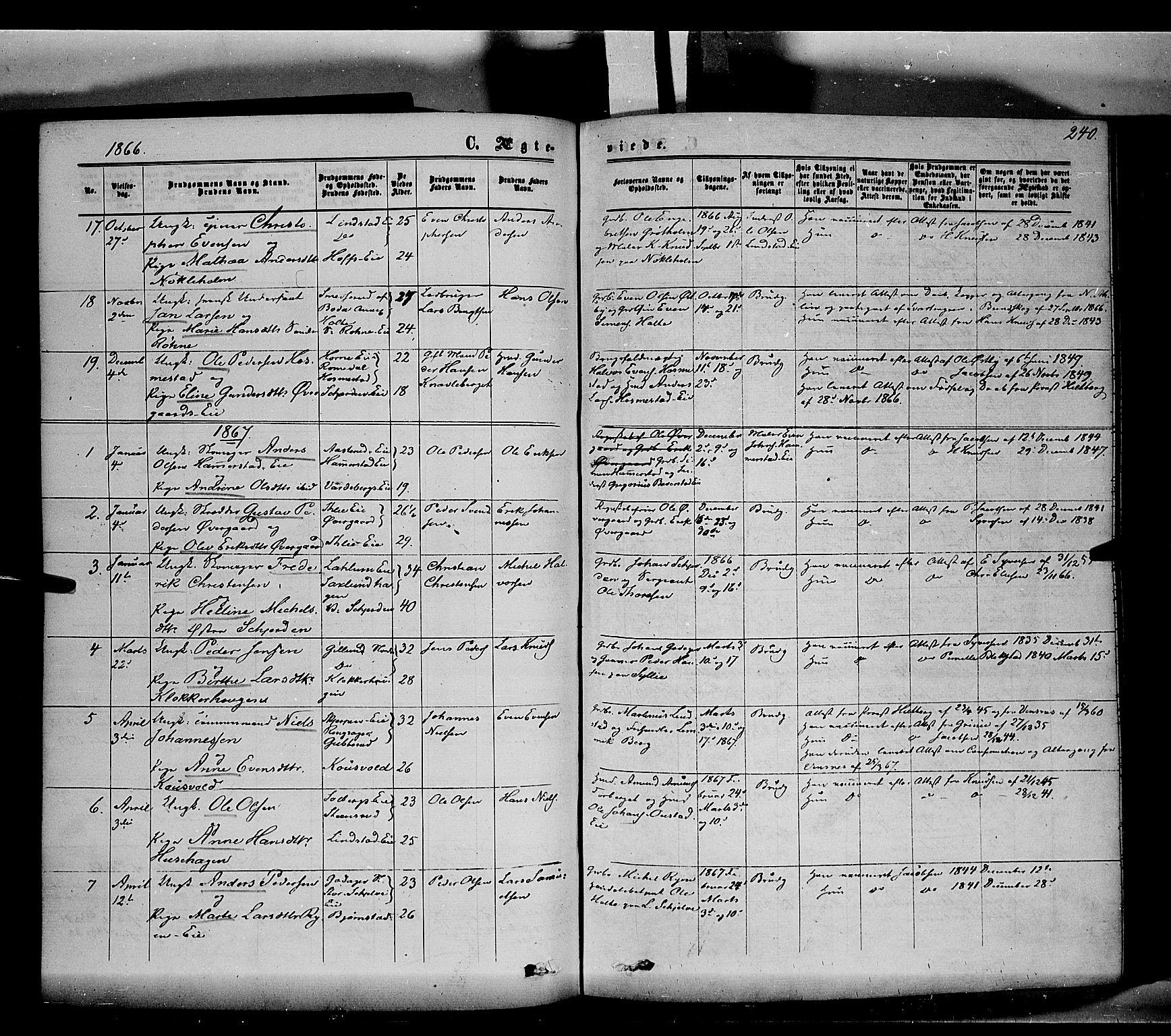 SAH, Stange prestekontor, K/L0013: Parish register (official) no. 13, 1862-1879, p. 240
