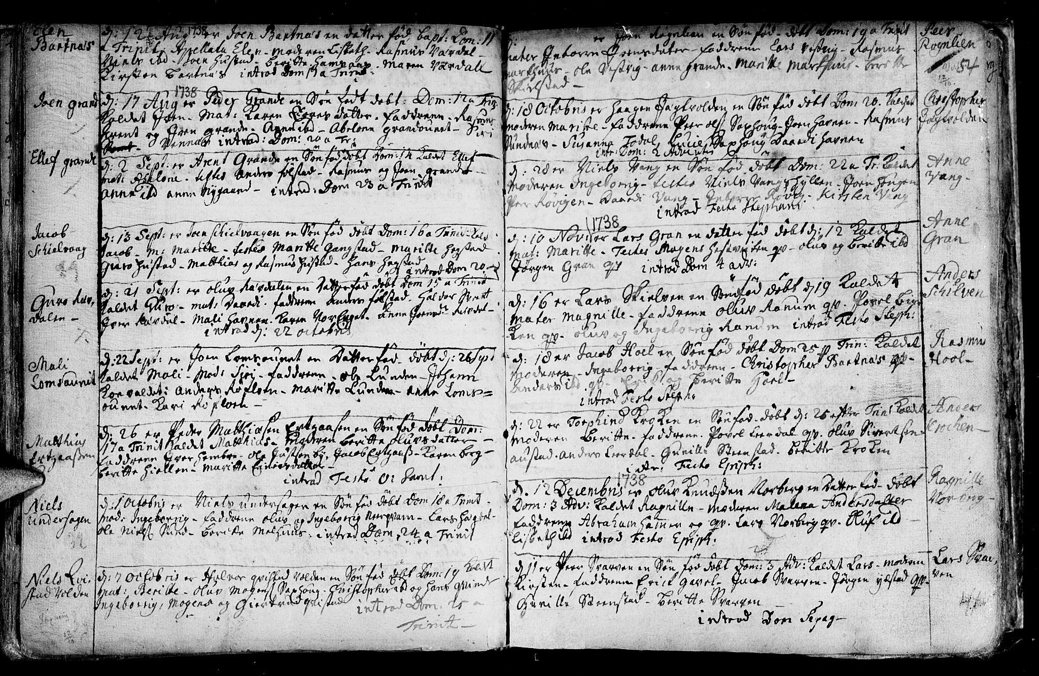 SAT, Ministerialprotokoller, klokkerbøker og fødselsregistre - Nord-Trøndelag, 730/L0272: Parish register (official) no. 730A01, 1733-1764, p. 54