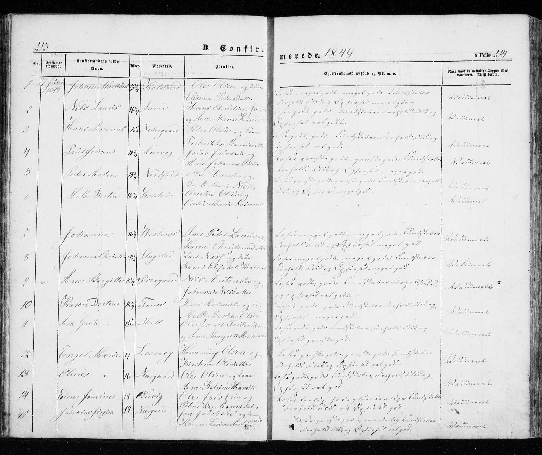 SATØ, Trondenes sokneprestkontor, H/Ha/L0010kirke: Parish register (official) no. 10, 1840-1865, p. 213-214