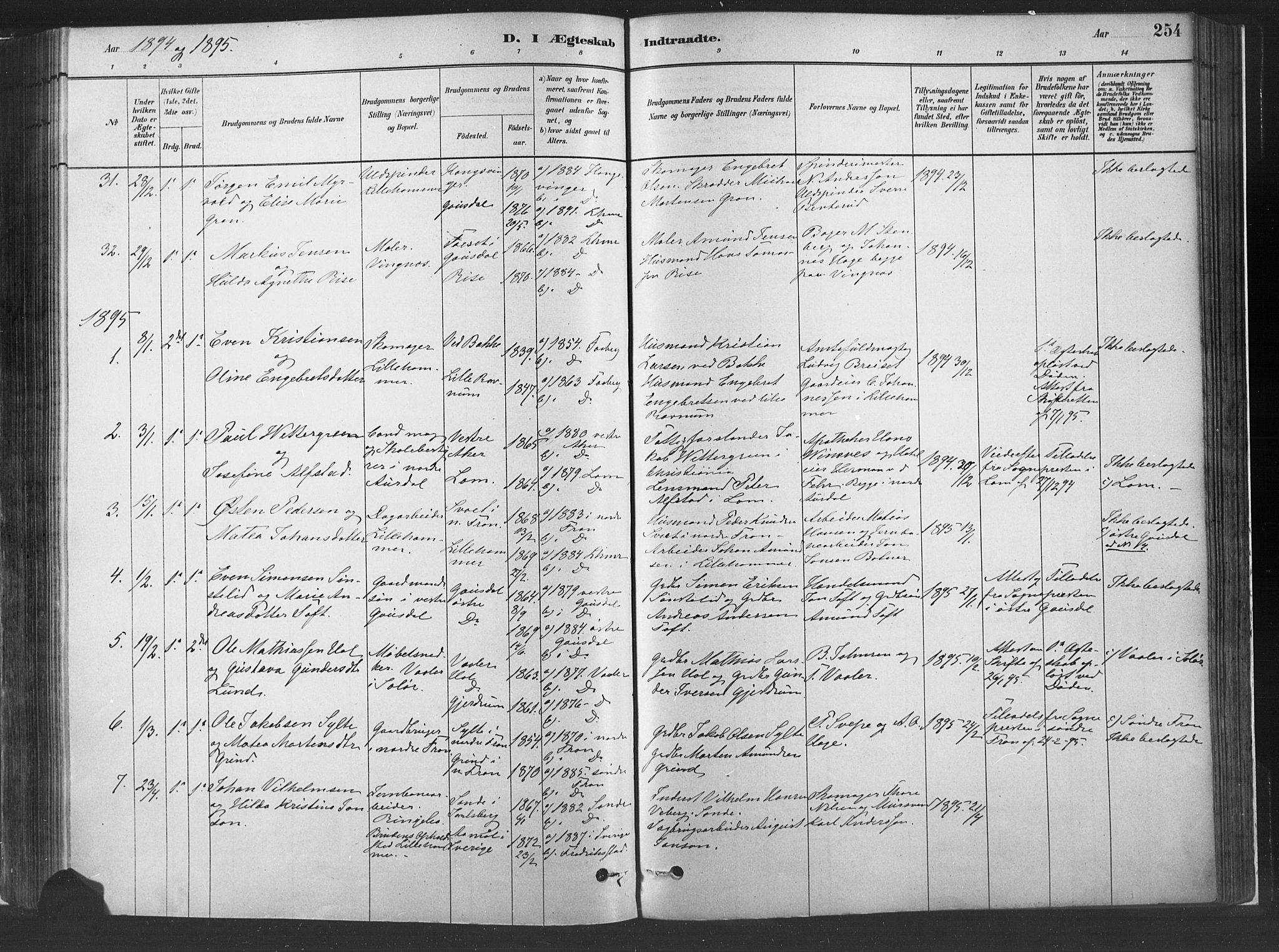 SAH, Fåberg prestekontor, H/Ha/Haa/L0010: Parish register (official) no. 10, 1879-1900, p. 254