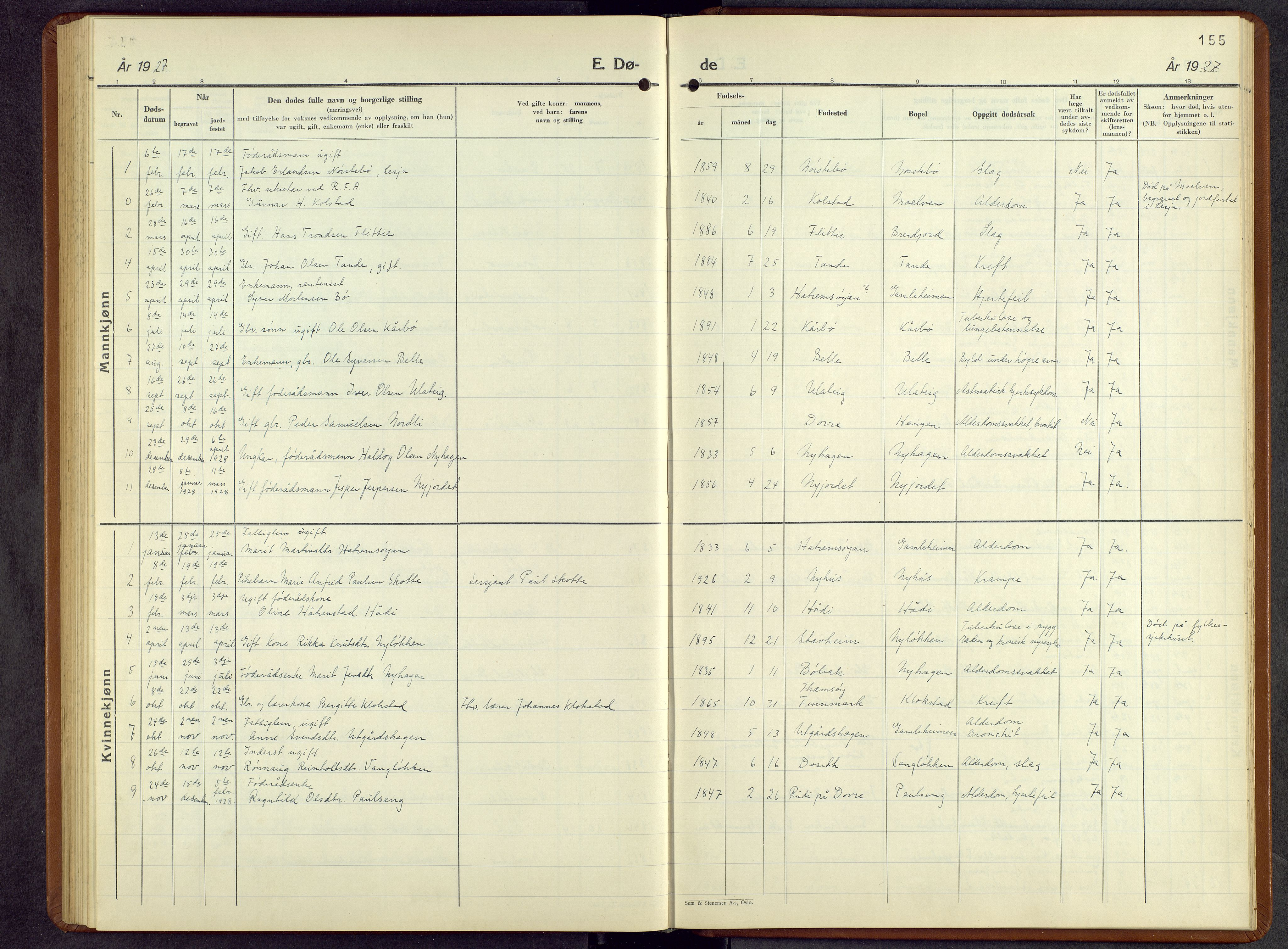 SAH, Lesja prestekontor, Parish register (copy) no. 10, 1925-1960, p. 155