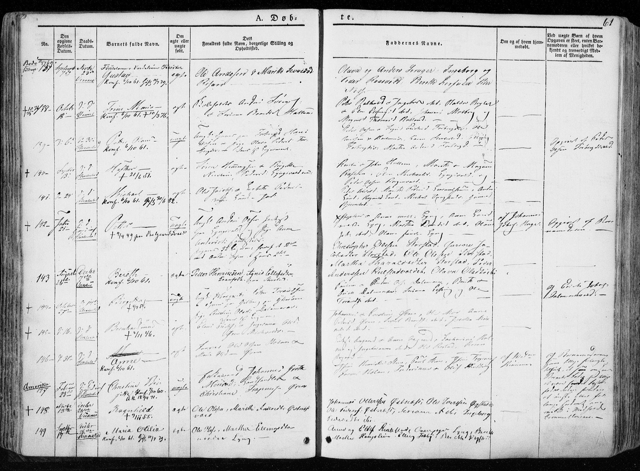 SAT, Ministerialprotokoller, klokkerbøker og fødselsregistre - Nord-Trøndelag, 723/L0239: Parish register (official) no. 723A08, 1841-1851, p. 61