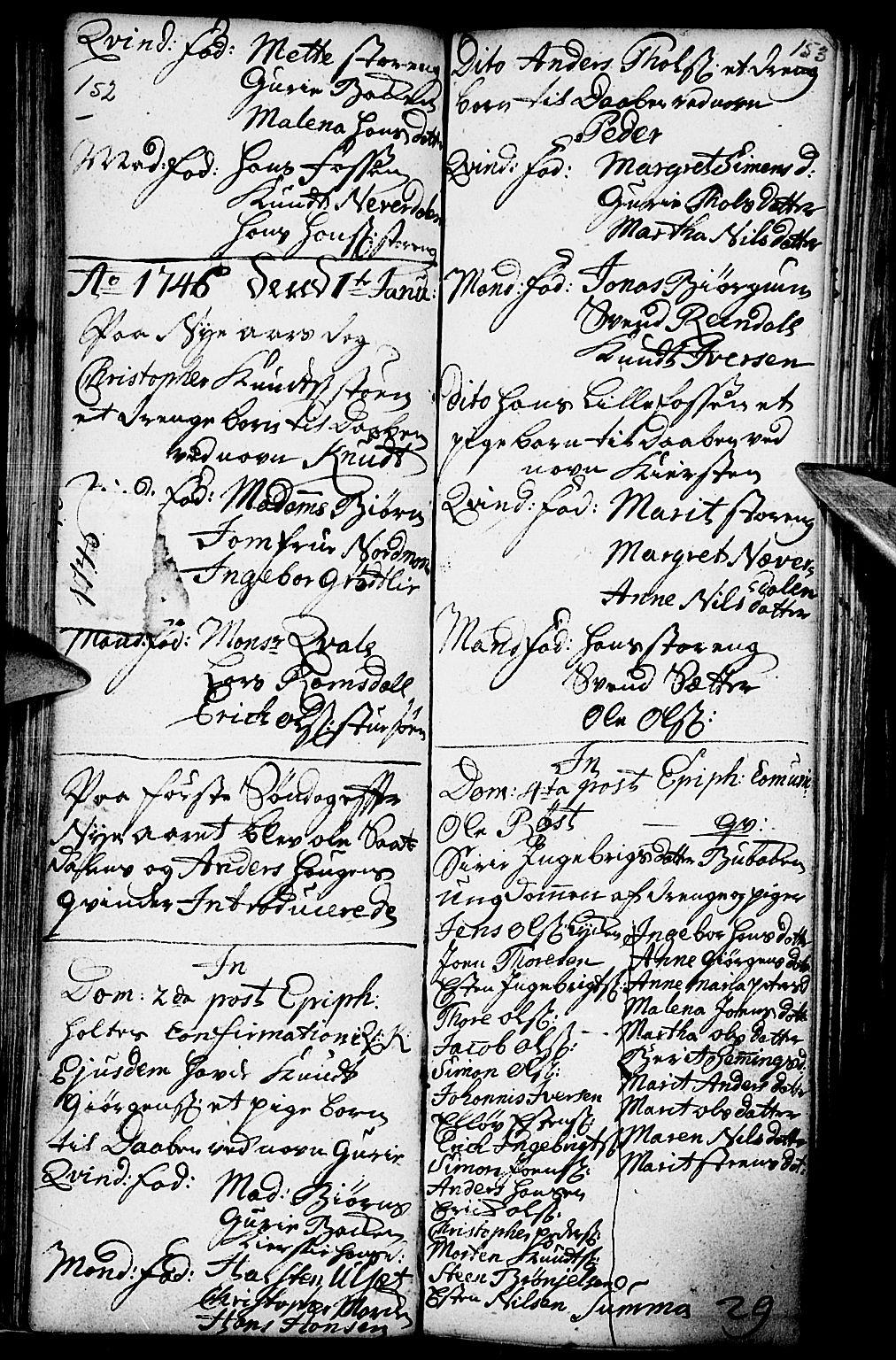 SAH, Kvikne prestekontor, Parish register (official) no. 1, 1740-1756, p. 152-153