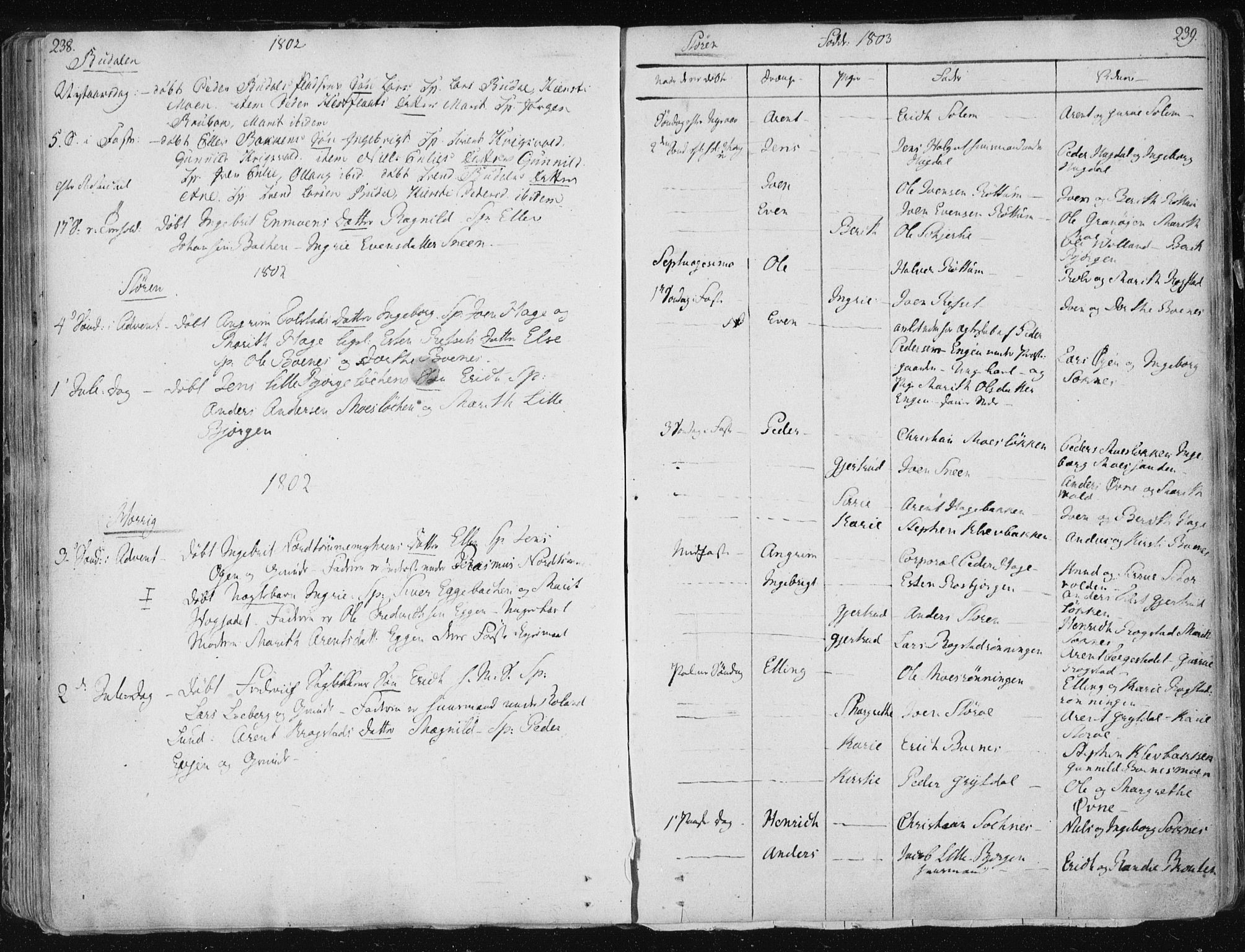 SAT, Ministerialprotokoller, klokkerbøker og fødselsregistre - Sør-Trøndelag, 687/L0992: Parish register (official) no. 687A03 /1, 1788-1815, p. 238-239