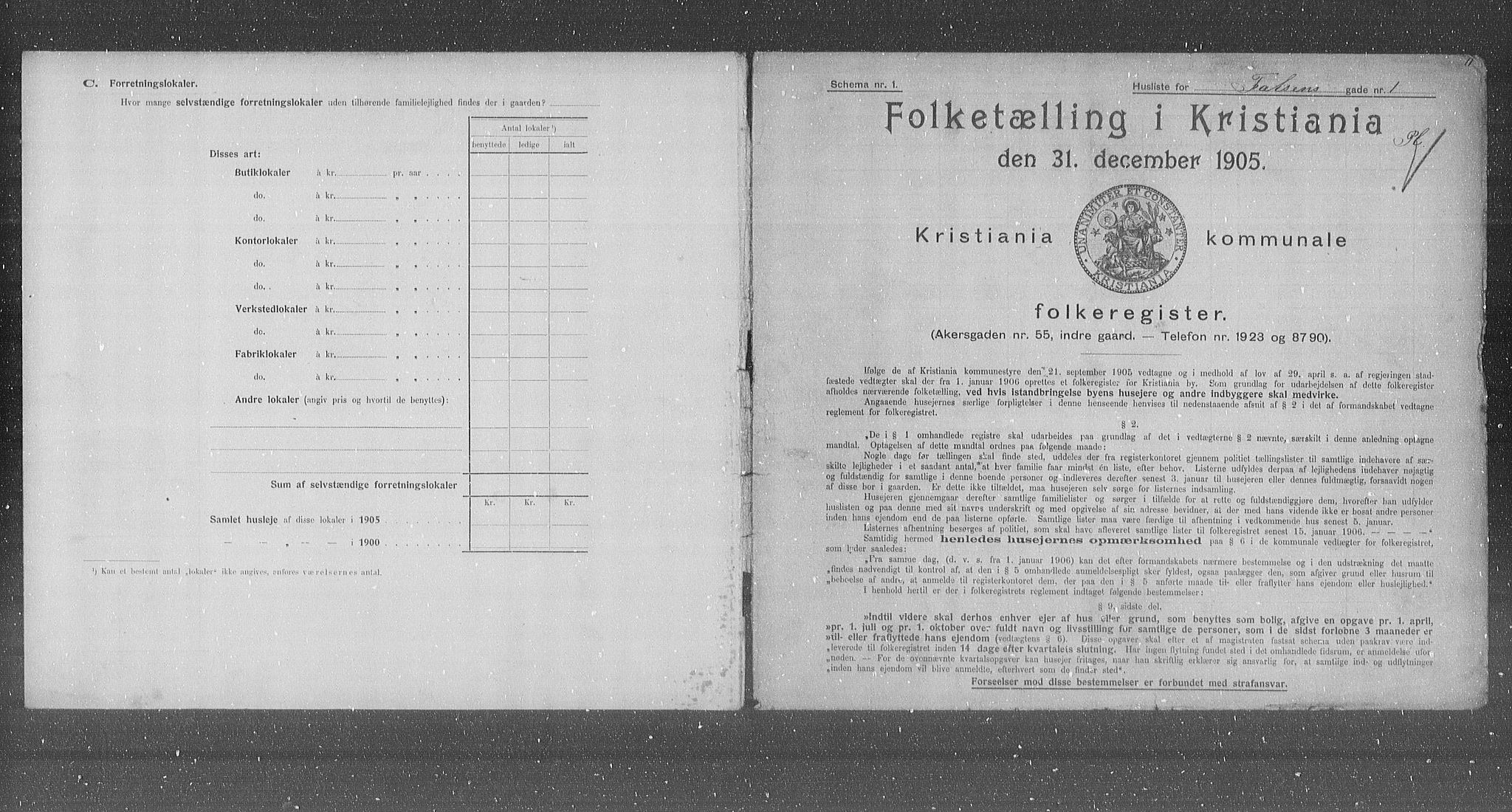 OBA, Municipal Census 1905 for Kristiania, 1905, p. 12064