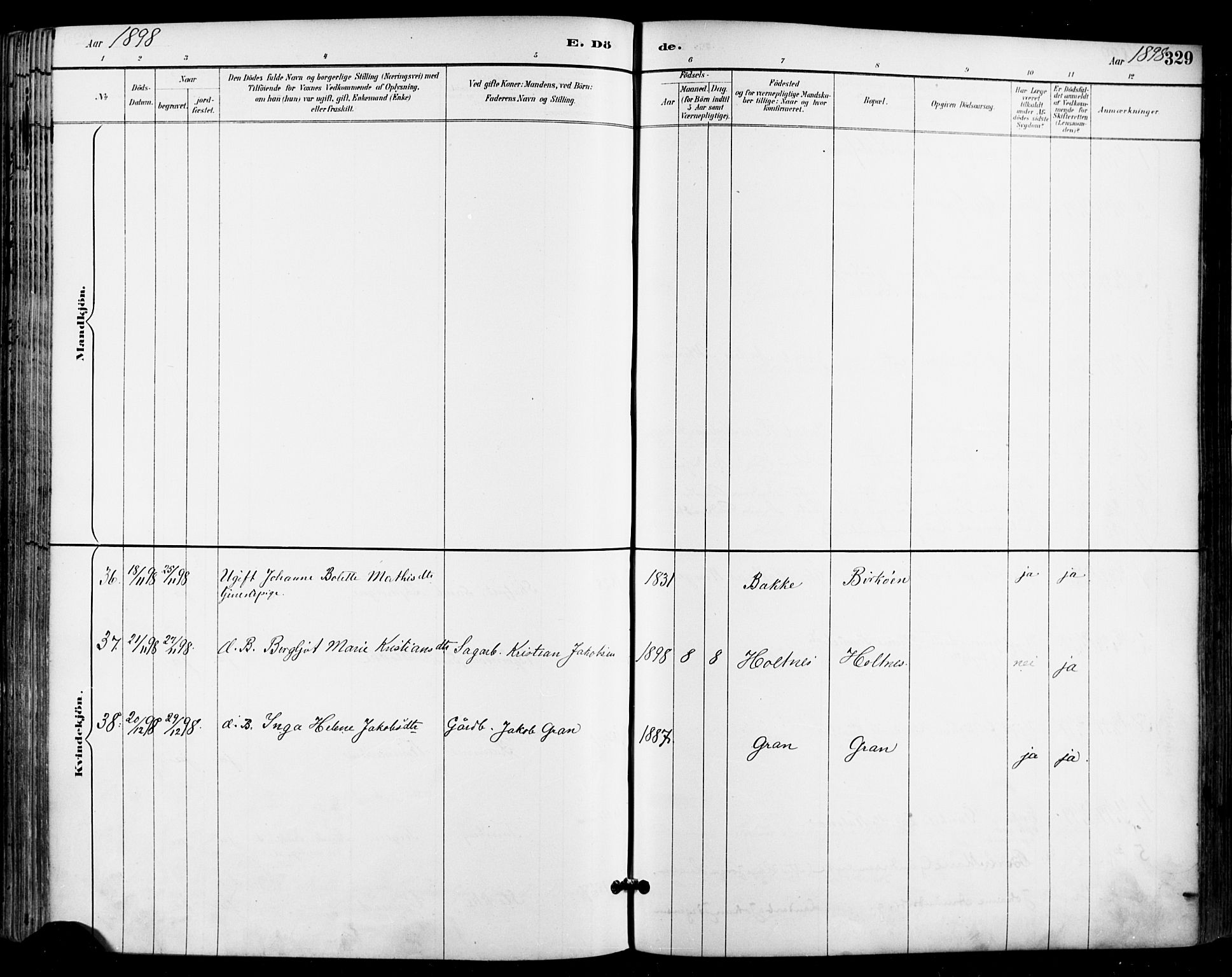 SAKO, Sande Kirkebøker, F/Fa/L0007: Parish register (official) no. 7, 1888-1903, p. 329