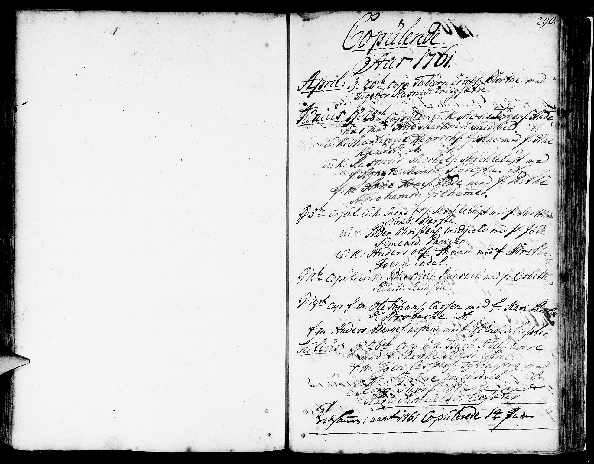 SAB, Davik Sokneprestembete, Parish register (official) no. A 2, 1742-1816, p. 290