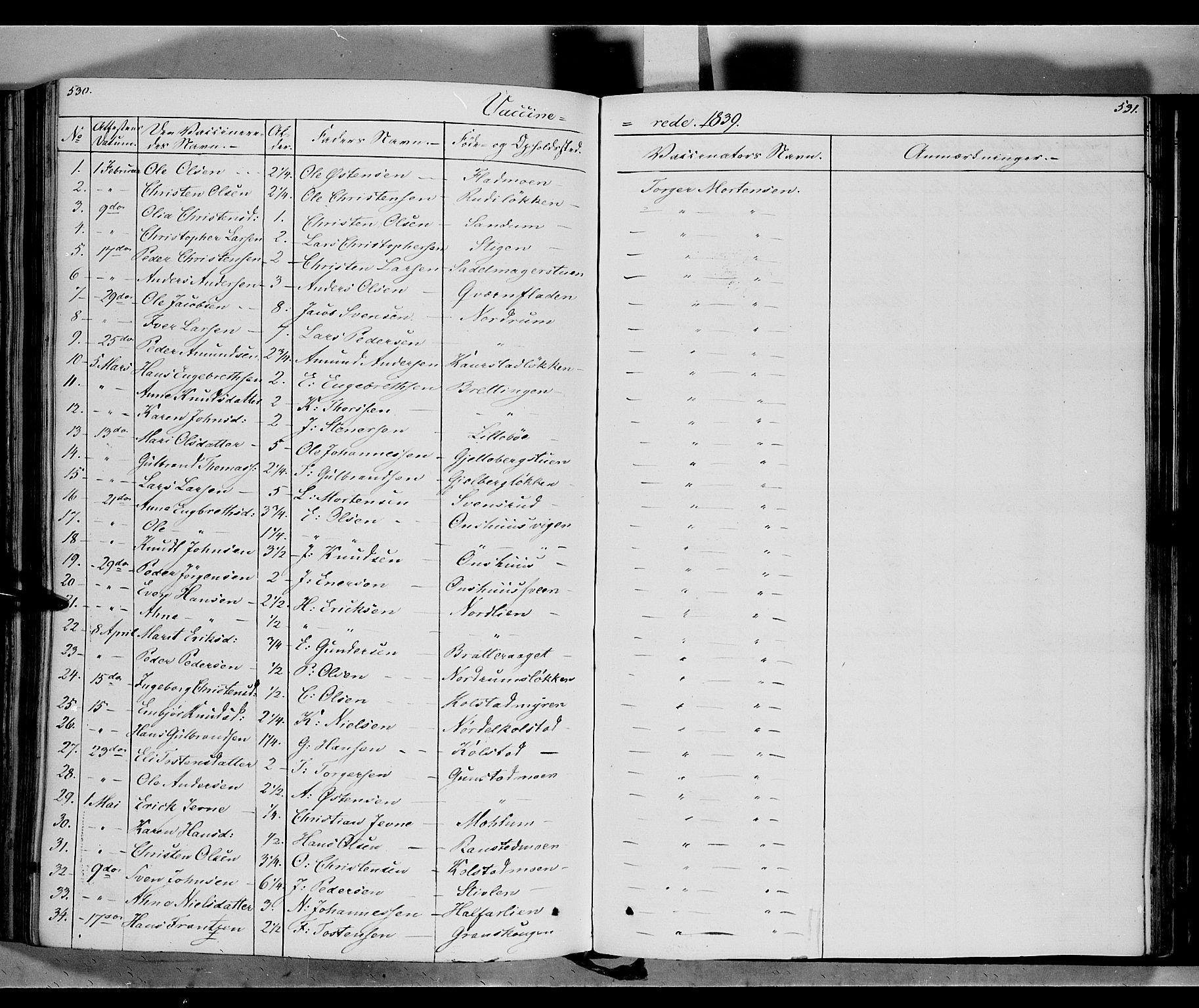 SAH, Ringebu prestekontor, Parish register (official) no. 5, 1839-1848, p. 530-531