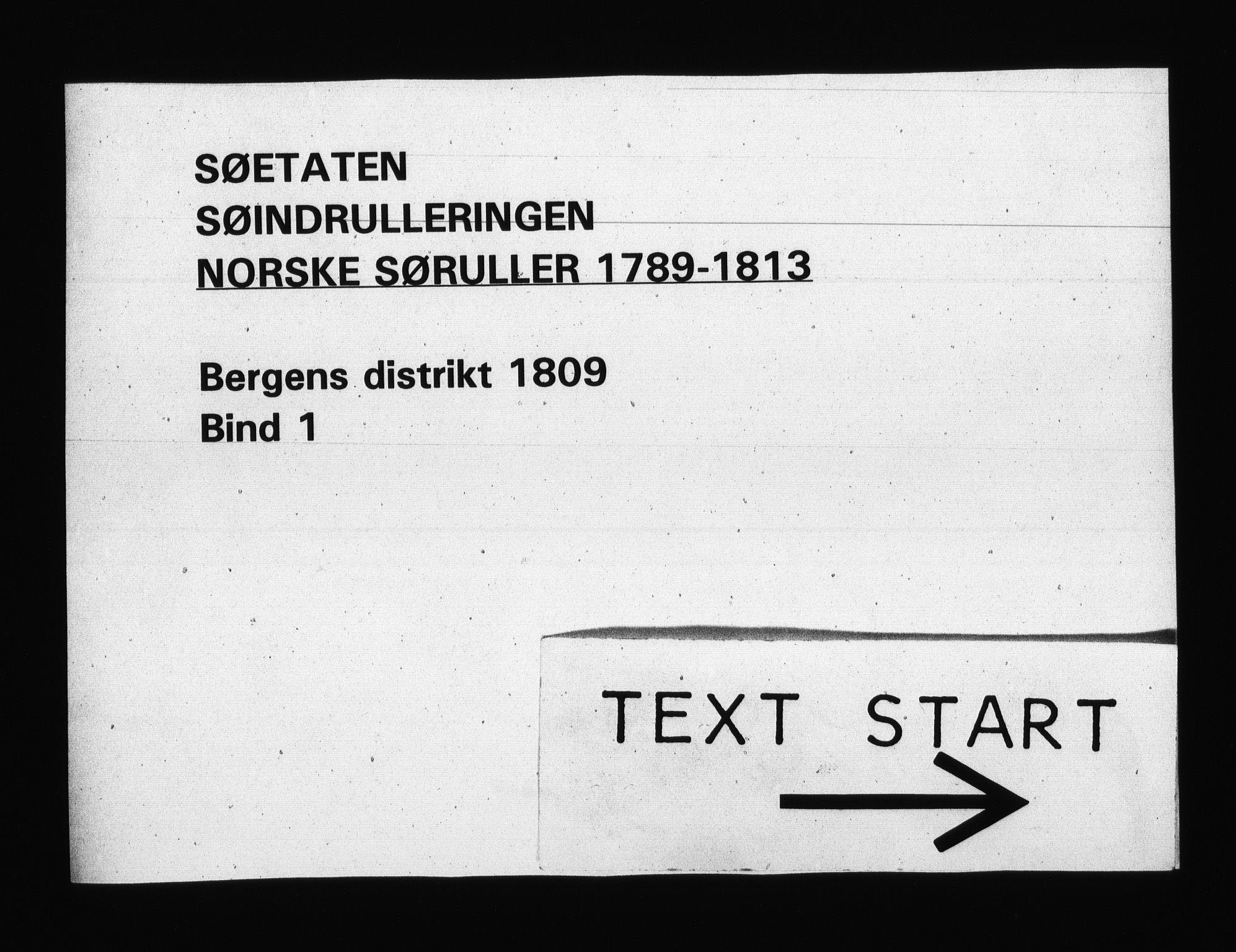 RA, Sjøetaten, F/L0248: Bergen distrikt, bind 1, 1809