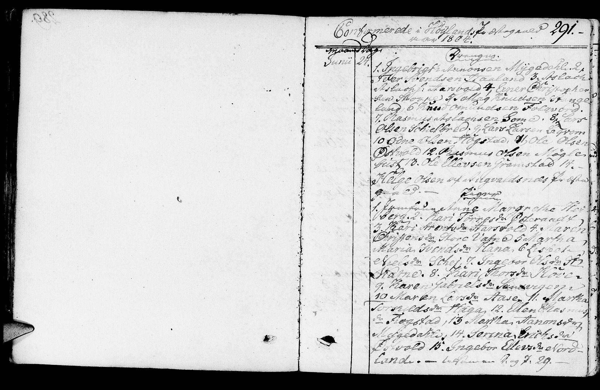 SAST, Høyland sokneprestkontor, 30BA/L0005: Parish register (official) no. A 5, 1804-1815, p. 291