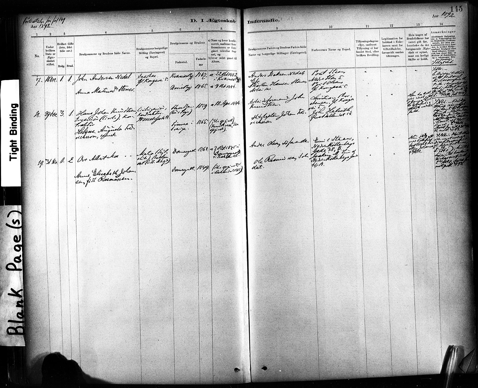 SAT, Ministerialprotokoller, klokkerbøker og fødselsregistre - Sør-Trøndelag, 604/L0189: Parish register (official) no. 604A10, 1878-1892, p. 145
