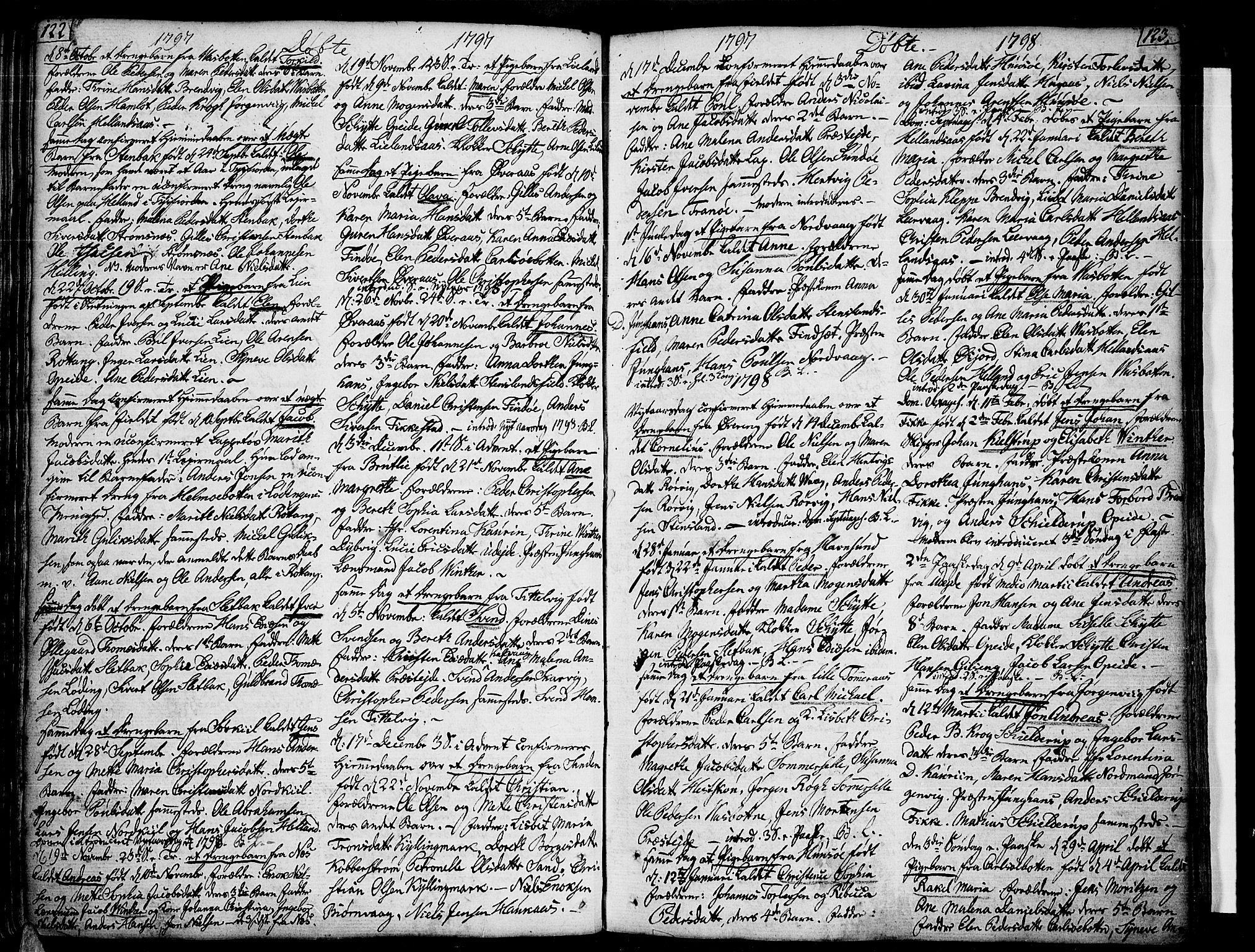 SAT, Ministerialprotokoller, klokkerbøker og fødselsregistre - Nordland, 859/L0841: Parish register (official) no. 859A01, 1766-1821, p. 122-123