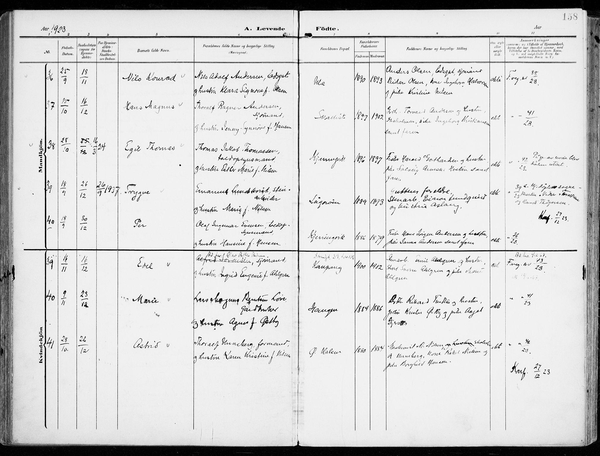 SAKO, Tjølling kirkebøker, F/Fa/L0010: Parish register (official) no. 10, 1906-1923, p. 158