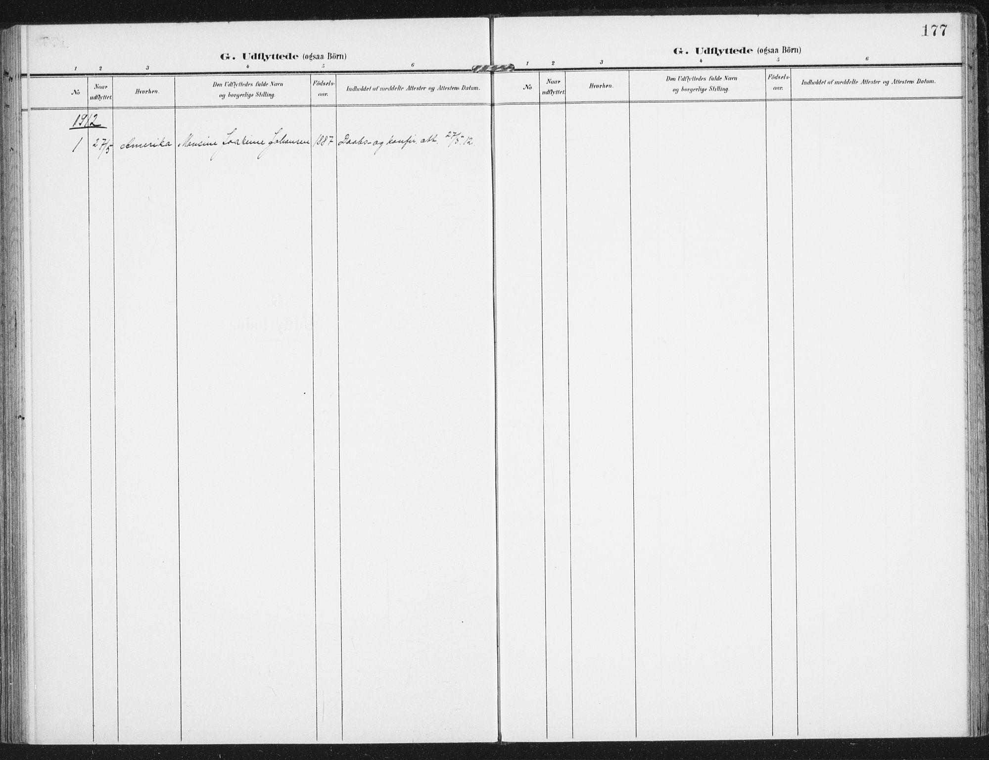 SAT, Ministerialprotokoller, klokkerbøker og fødselsregistre - Nordland, 885/L1206: Parish register (official) no. 885A07, 1905-1915, p. 177