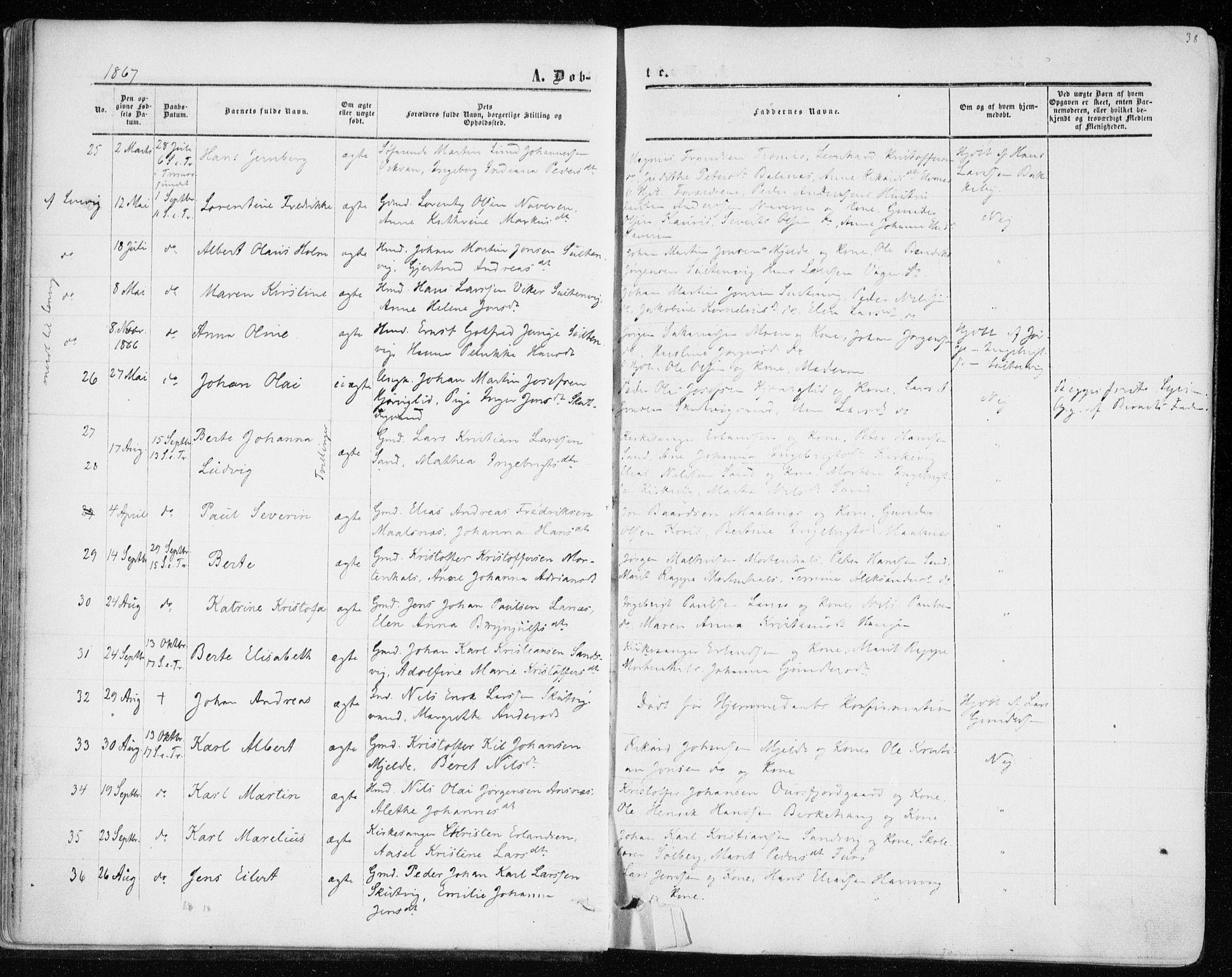 SATØ, Balsfjord sokneprestembete, Parish register (official) no. 1, 1858-1870, p. 38