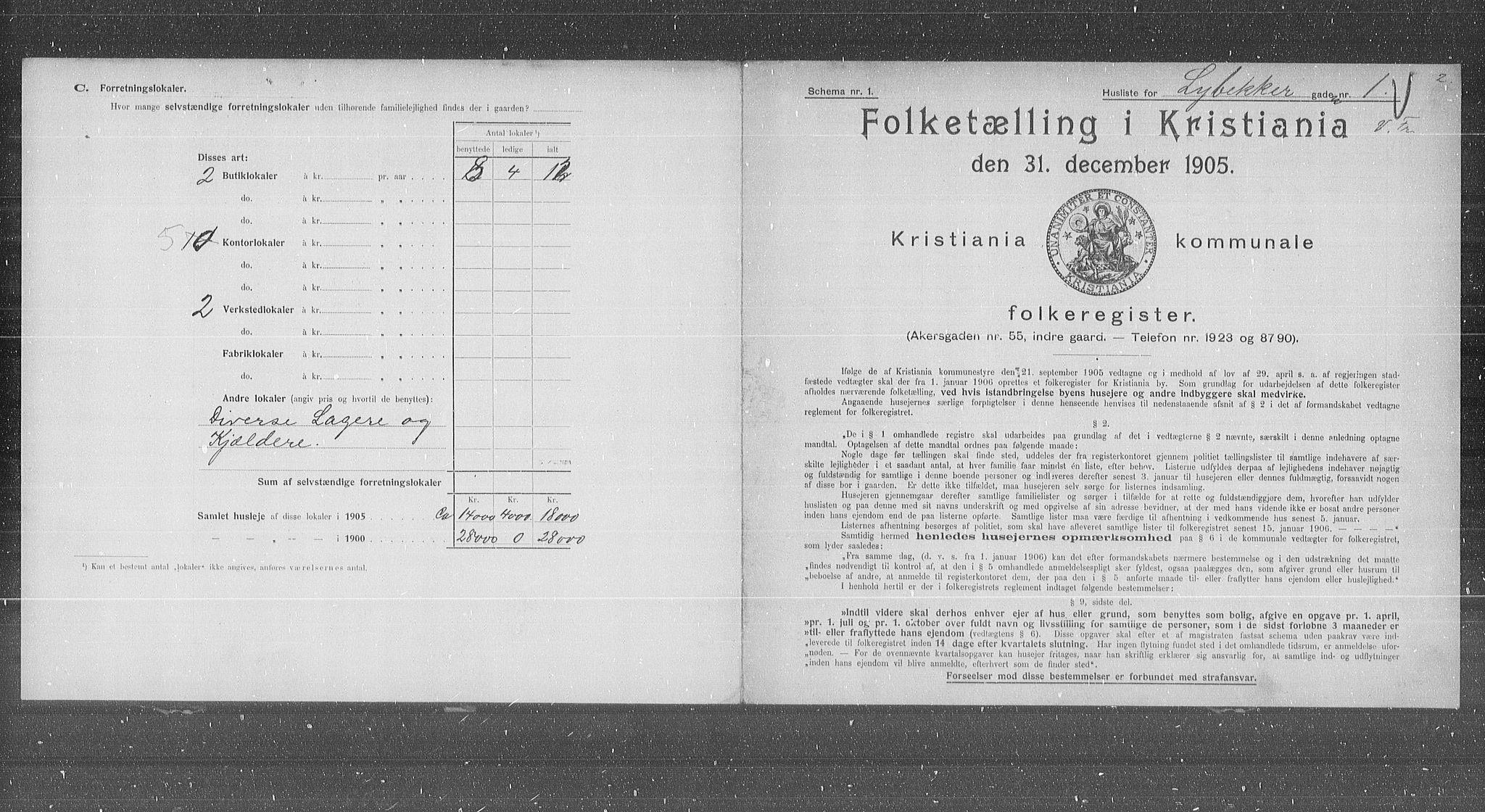OBA, Municipal Census 1905 for Kristiania, 1905, p. 30717