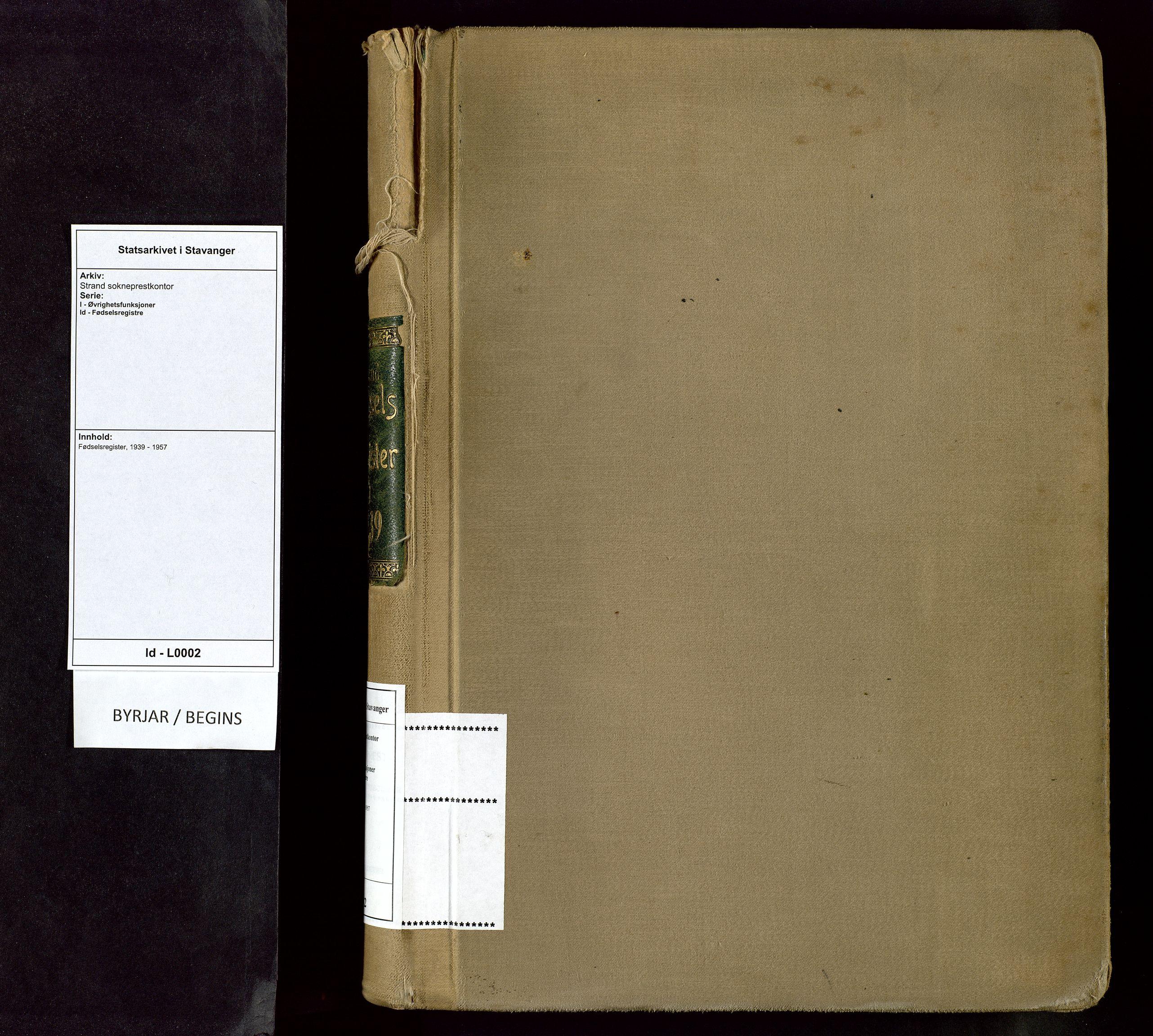 SAST, Strand sokneprestkontor, I/Id/L0002: Birth register no. 2, 1939-1957