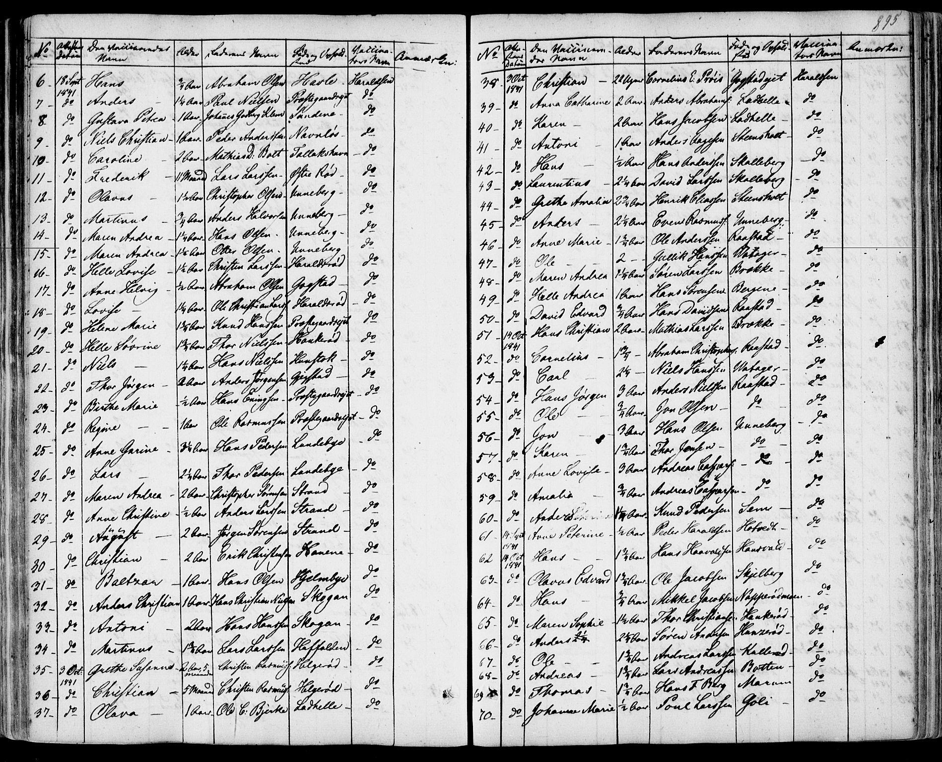 SAKO, Sandar kirkebøker, F/Fa/L0005: Parish register (official) no. 5, 1832-1847, p. 894-895