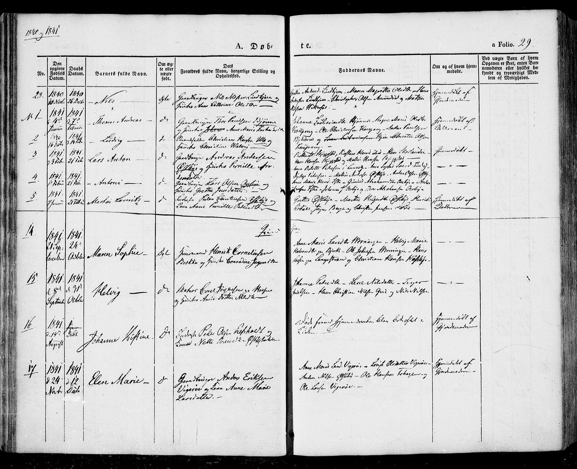 SAKO, Tjølling kirkebøker, F/Fa/L0006: Parish register (official) no. 6, 1835-1859, p. 29