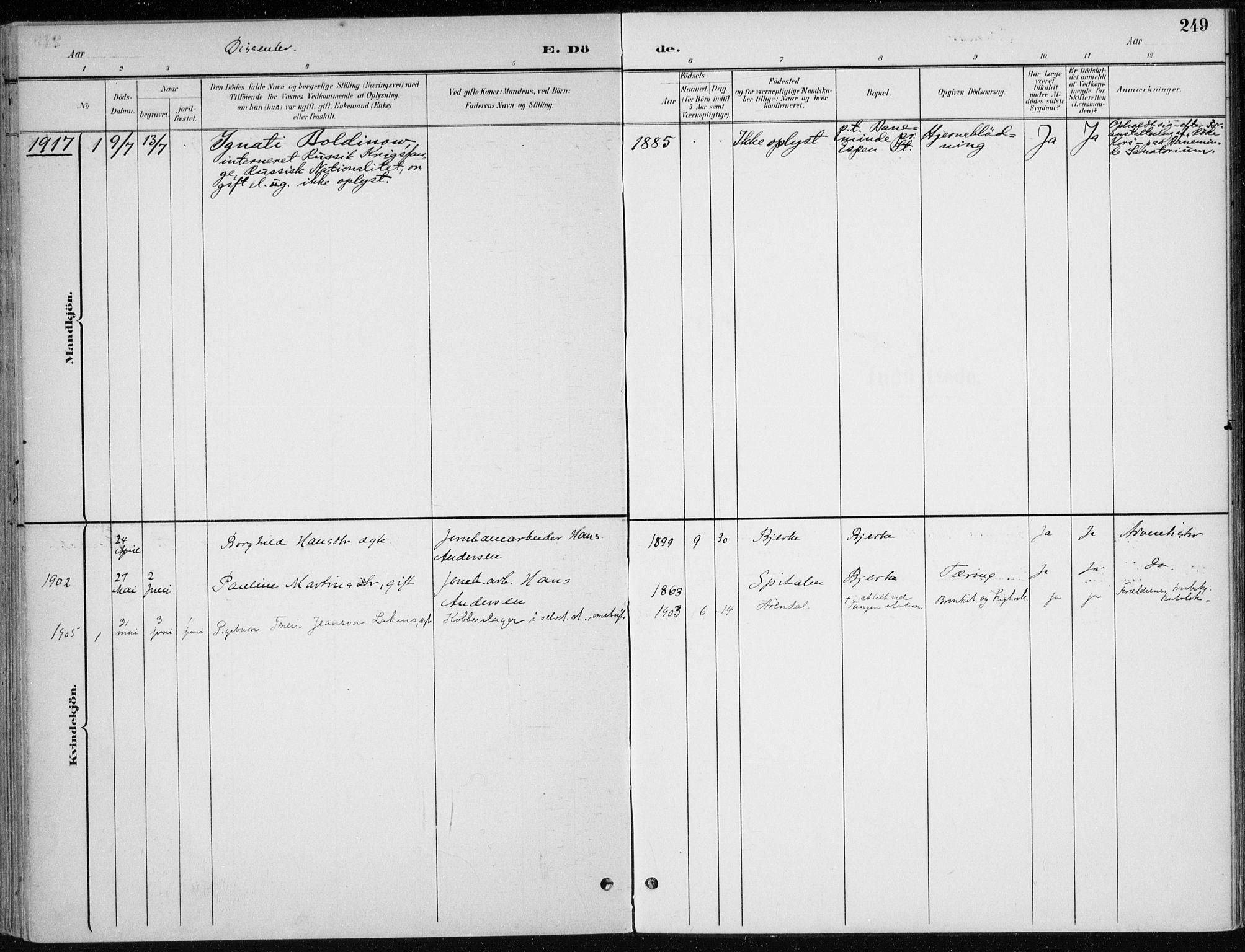 SAH, Stange prestekontor, K/L0023: Parish register (official) no. 23, 1897-1920, p. 249