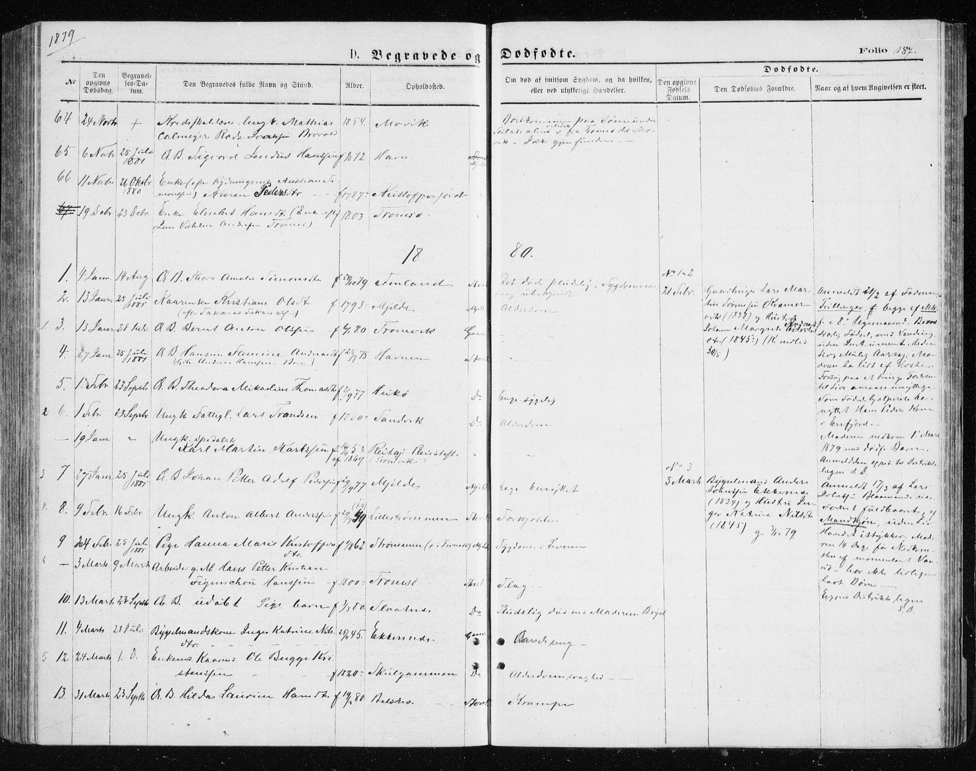 SATØ, Tromsøysund sokneprestkontor, G/Ga/L0003kirke: Parish register (official) no. 3, 1875-1880, p. 187