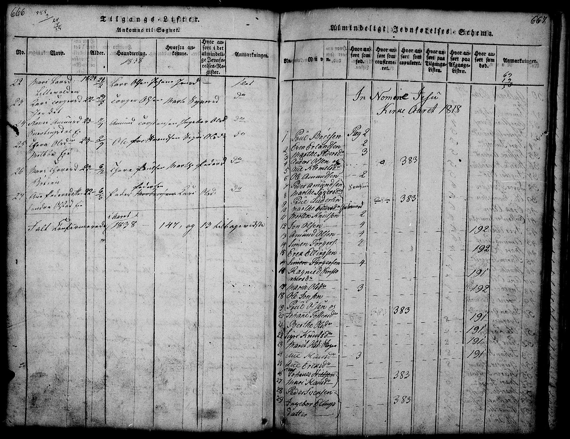 SAH, Gausdal prestekontor, Parish register (copy) no. 1, 1817-1848, p. 666-667